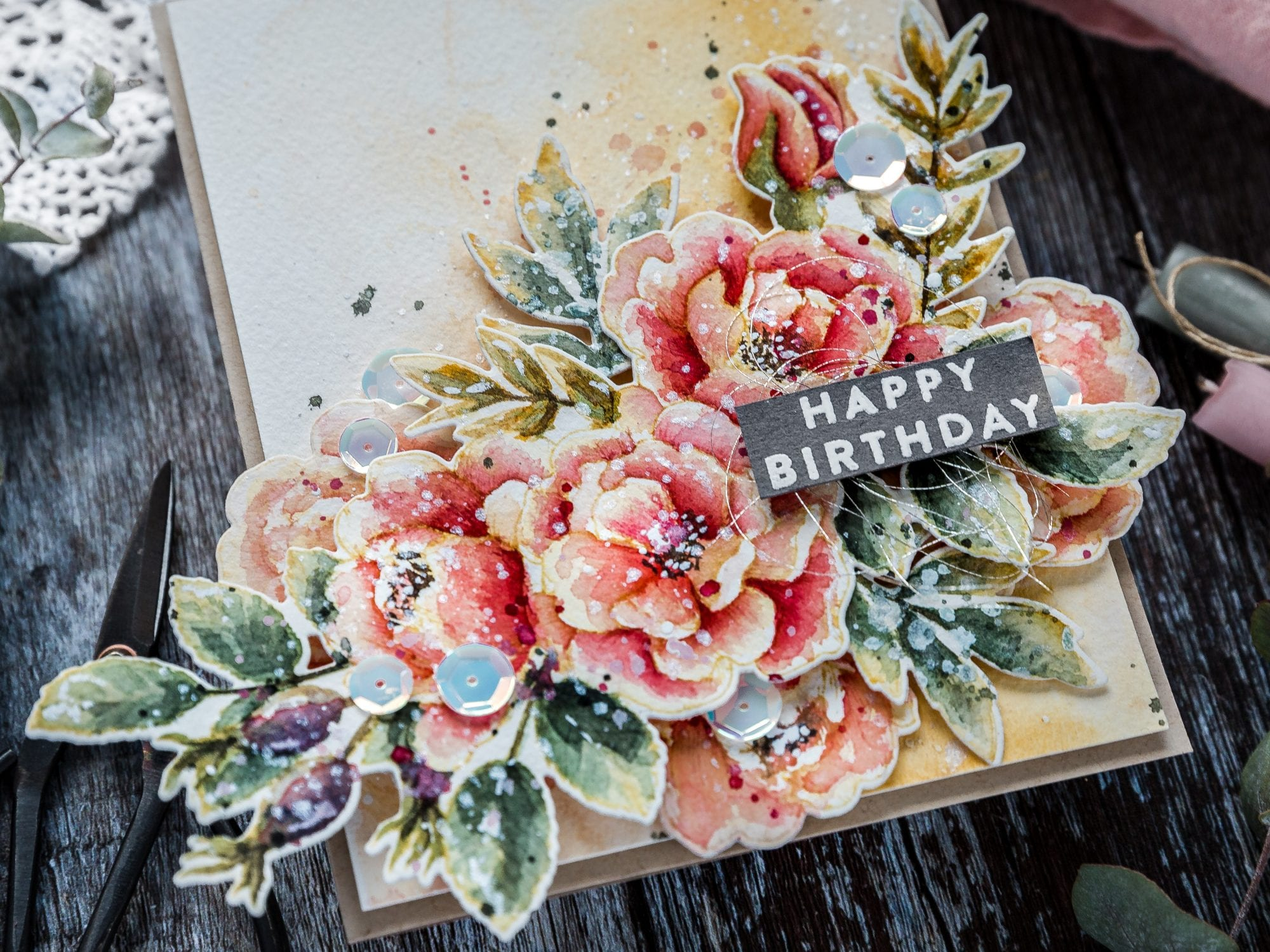 Video tutorial - no-line watercoloured florals handmade birthday card by Debby Hughes. Find out more here: https://limedoodledesign.com/2019/02/video-watercoloured-florals/