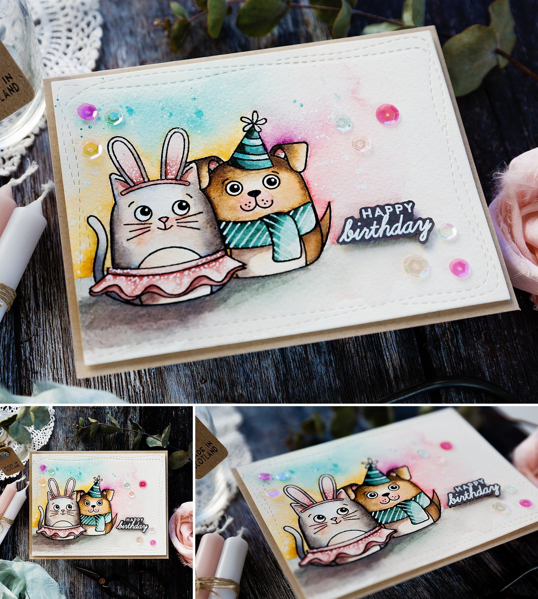 Cute cat and dog watercoloured handmade birthday card by Debby Hughes using supplies from Simon Says Stamp. Find out more here: https://limedoodledesign.com/2019/03/watercoloured-dress-up-critters/