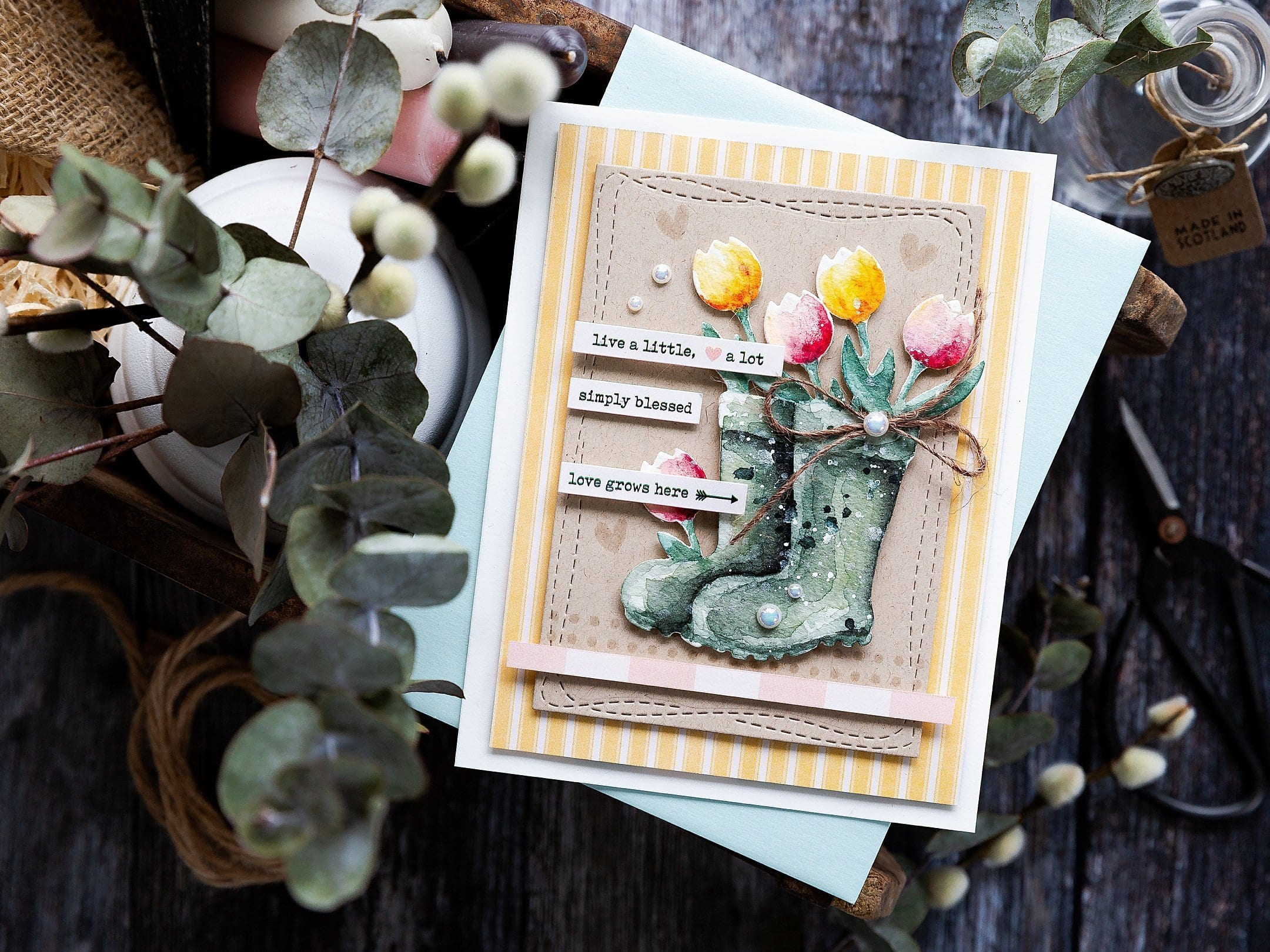 Watercoloured die cut handmade card by Debby Hughes using the April Card Kit from Simon Says Stamp. Find out more here: https://limedoodledesign.com/2019/03/watercoloured-die-cut/