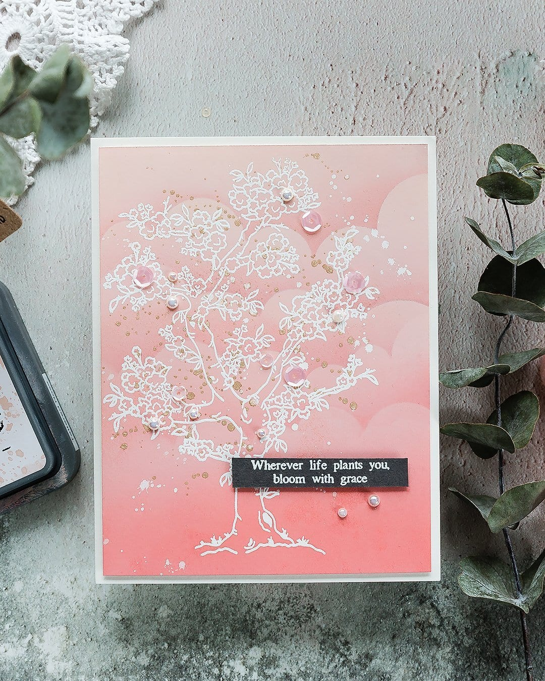 Distress Oxide ink blended background with beautiful heat embossed cherry blossom tree. Handmade card by Debby Hughes using supplies from Simon Says Stamp. Find out more here: https://limedoodledesign.com/2019/03/blossom-inspiration/