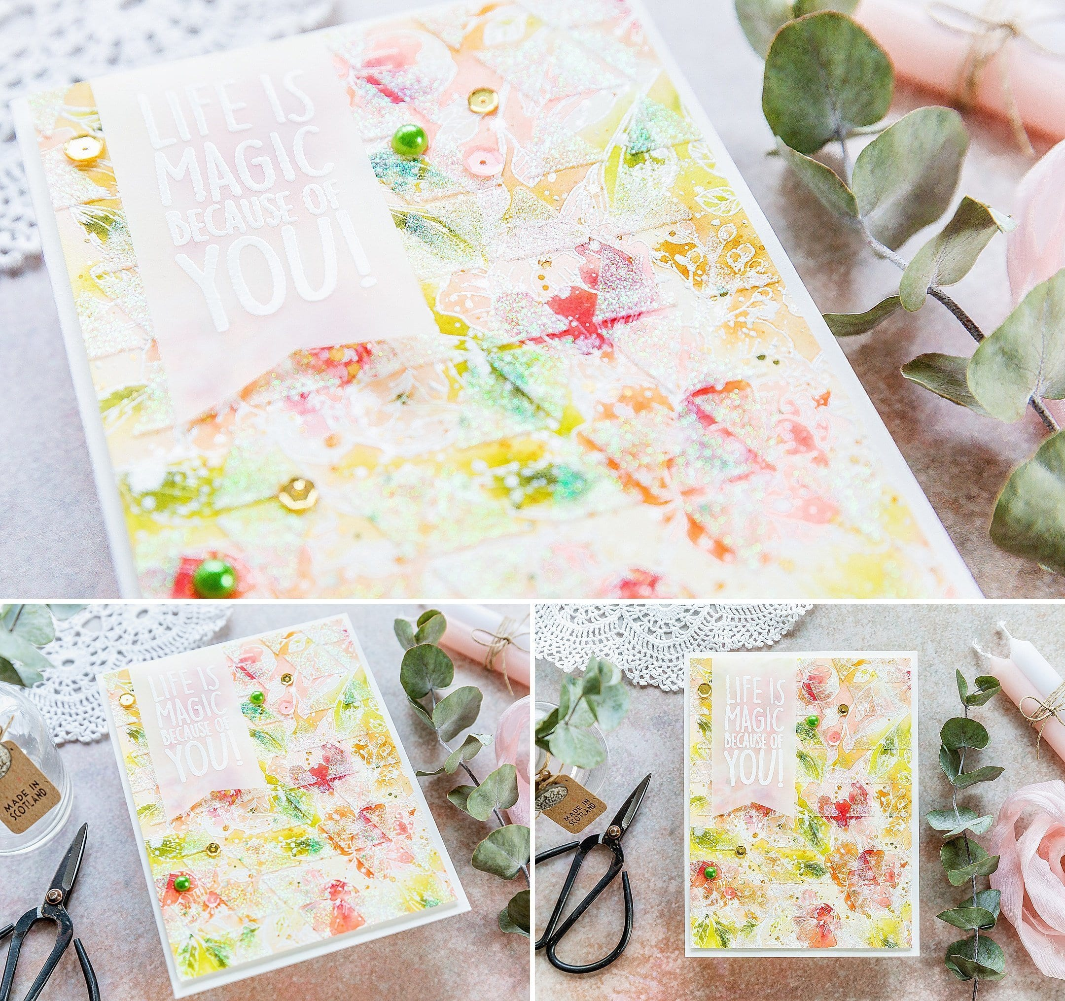 Layered, watercoloured, peonies background, handmade card by Debby Hughes using supplies from Simon Says Stamp and CZ Design. Find out more here: https://limedoodledesign.com/2019/03/layered-watercoloured-background-blog-hop-giveaway/