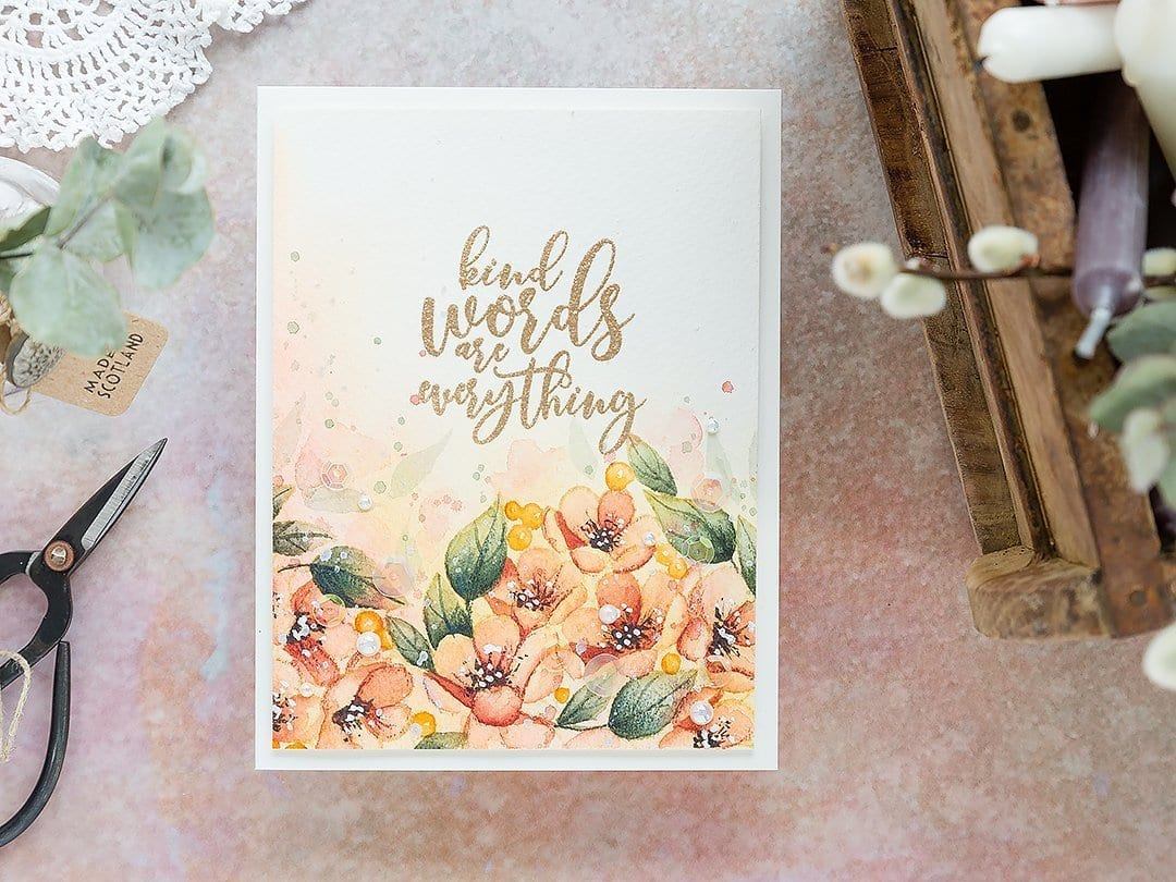 Video - watercoloured floral border, handmade card by Debby Hughes using supplies from Simon Says Stamp and paints from Daniel Smith. Find out more here: https://limedoodledesign.com/2019/03/video-a-lesson-in-persistance/