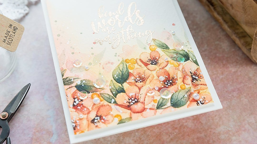 Watercoloured floral border. Handmade card by Debby Hughes using supplies from Simon Says Stamp. Find out more here: https://limedoodledesign.com/2019/03/watercoloured-floral-border-a-lesson-in-persistance/
