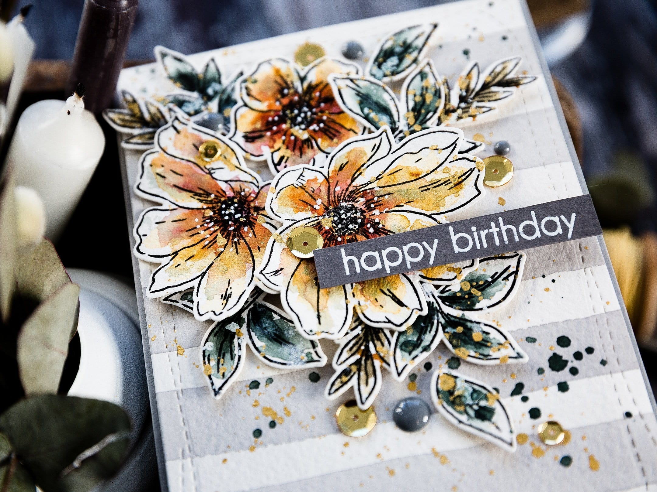 Watercoloured, floral, die cut, handmade birthday card by Debby Hughes using supplies from Altenew. Find out more here: https://limedoodledesign.com/2019/04/altenew-5th-anniversary-blog-hop-day-4-giveaway/