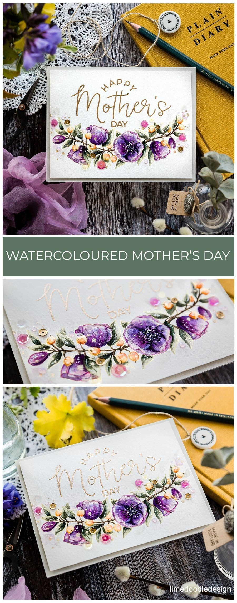 Handmade, watercoloured Mother's Day card by Debby Hughes using products from Honey Bee Studios. Find out more here: https://limedoodledesign.com/2019/04/watercoloured-mothers-day-card/