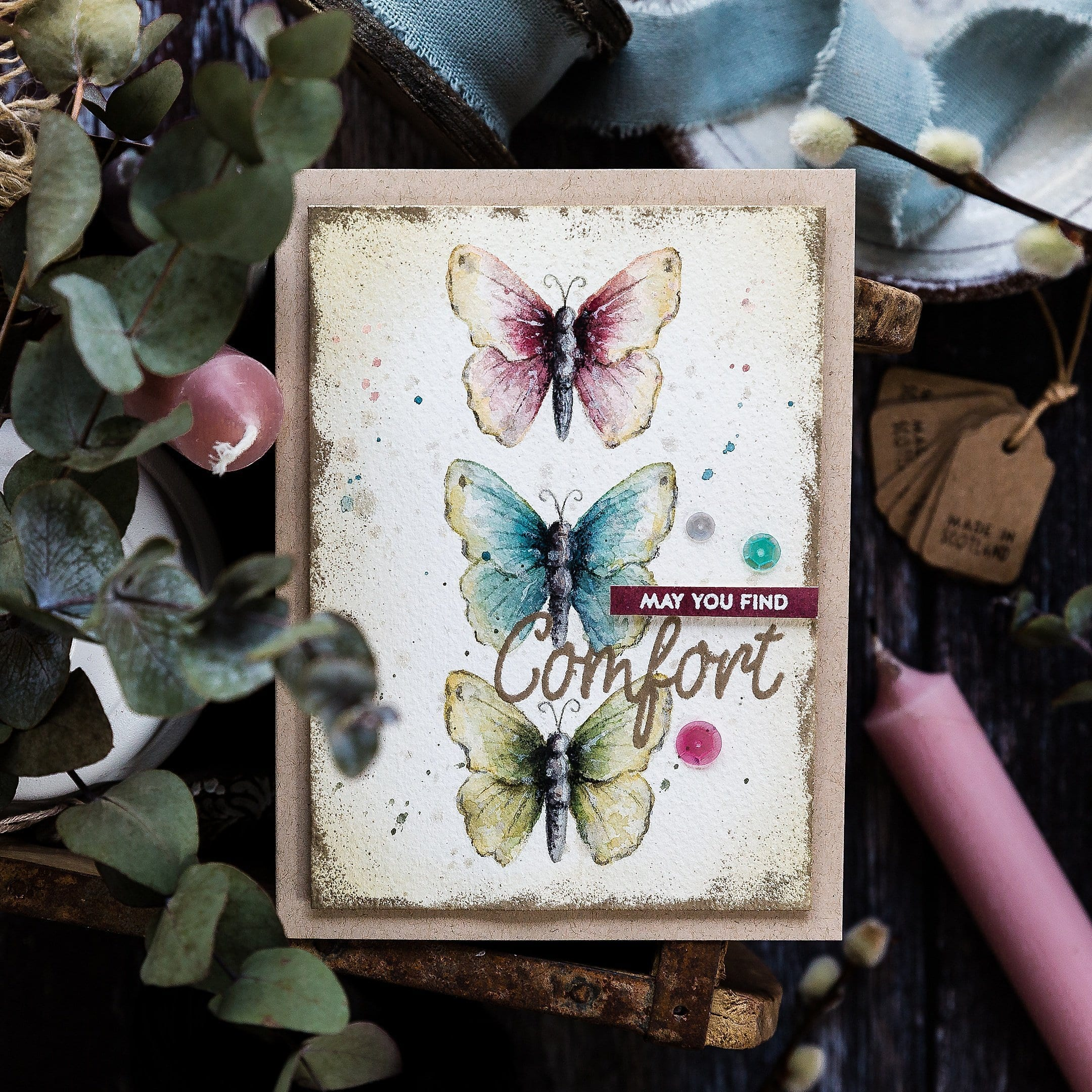 Softly watercoloured butterflies, handmade card by Debby Hughes using supplies from Simon Says Stamp. Find out more here: https://limedoodledesign.com/2019/04/watercoloured-butterflies-sss-new-release/