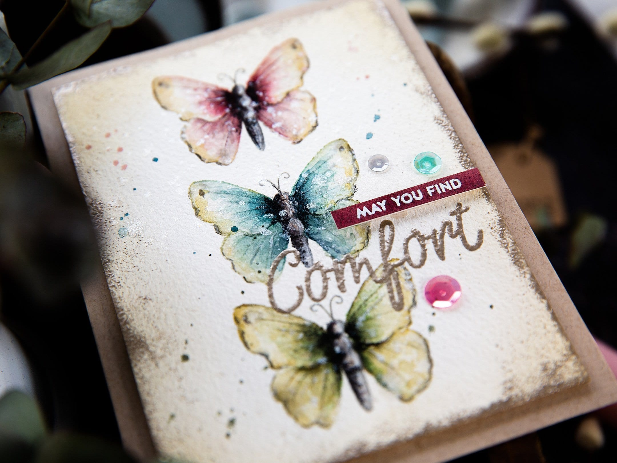 Softly watercoloured butterflies, handmade card by Debby Hughes using supplies from Simon Says Stamp. Find out more here: https://limedoodledesign.com/2019/04/watercoloured-butterflies-sss-new-release