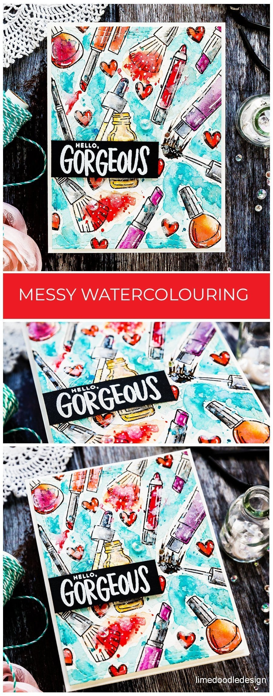 Messy watercoloured makeup background handmade card by Debby Hughes using supplies from Simon Says Stamp. Find out more here: https://limedoodledesign.com/2019/04/video-messy-watercoloured-background/