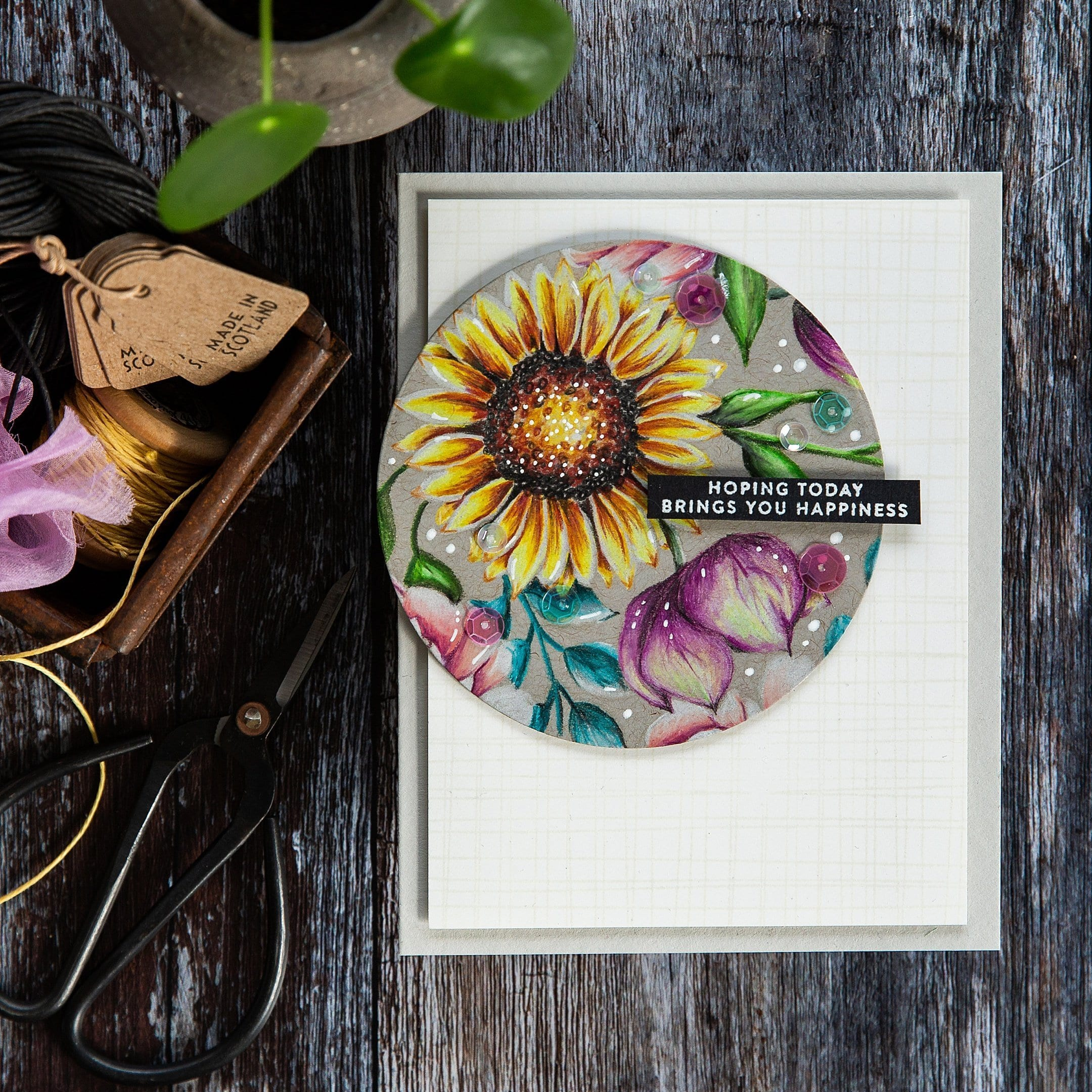 Coloured pencils on kraft floral card by Debby Hughes using supplies from Simon Says Stamp. Find out more here: https://limedoodledesign.com/2019/04/pencils-on-kraft-blog-hop-giveaway/