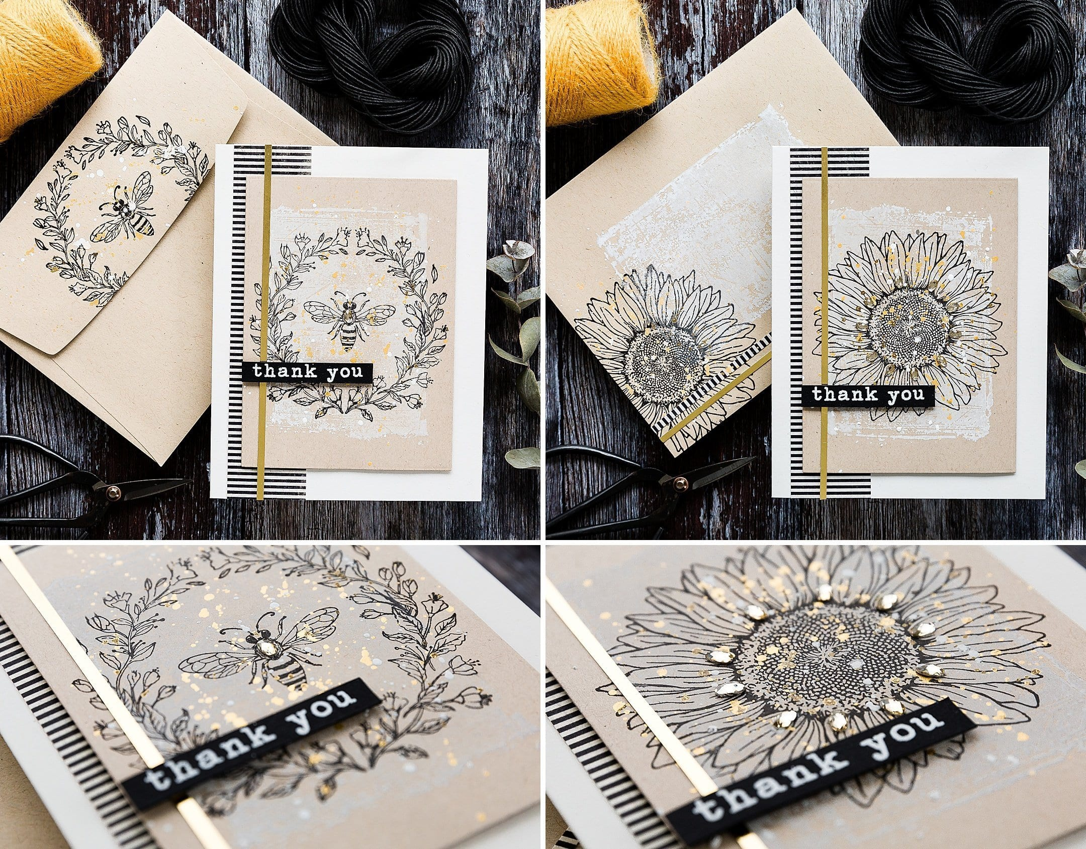 Simply stamped bee and sunflower handmade notecards by Debby Hughes using supplies from Hero Arts. Find out more here: https://limedoodledesign.com/2019/05/hero-arts-45th-birthday-blog-hop-simply-stamped-notecards/