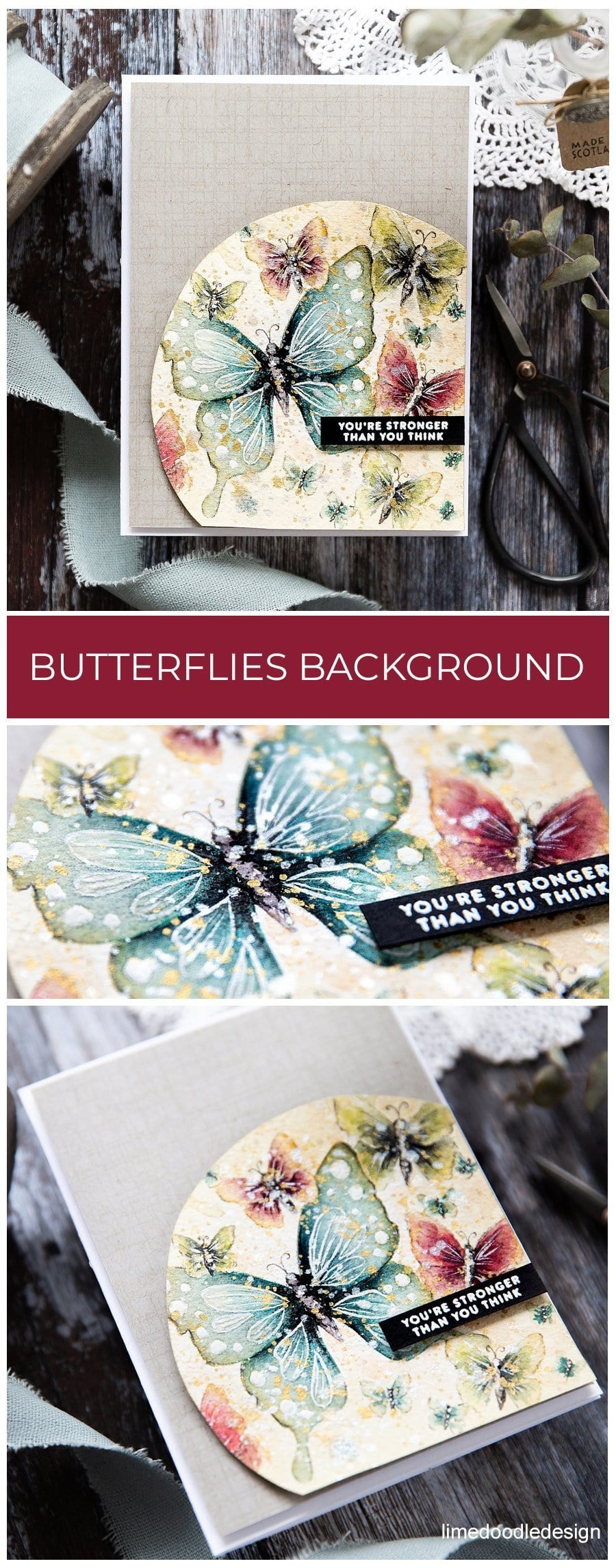 Watercoloured butterfly background, handmade card by Debby Hughes using supplies from Simon Says Stamp. Find out more here: https://limedoodledesign.com/2019/05/watercoloured-butterfly-background/