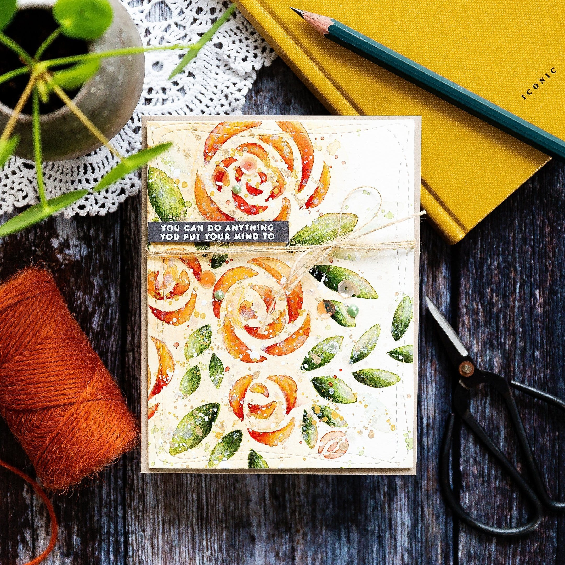 Using a stencil with watercolours. Floral, handmade card by Debby Hughes using supplies from Simon Says Stamp. Find out more here: https://limedoodledesign.com/2019/05/video-using-watercolour-with-a-stencil/