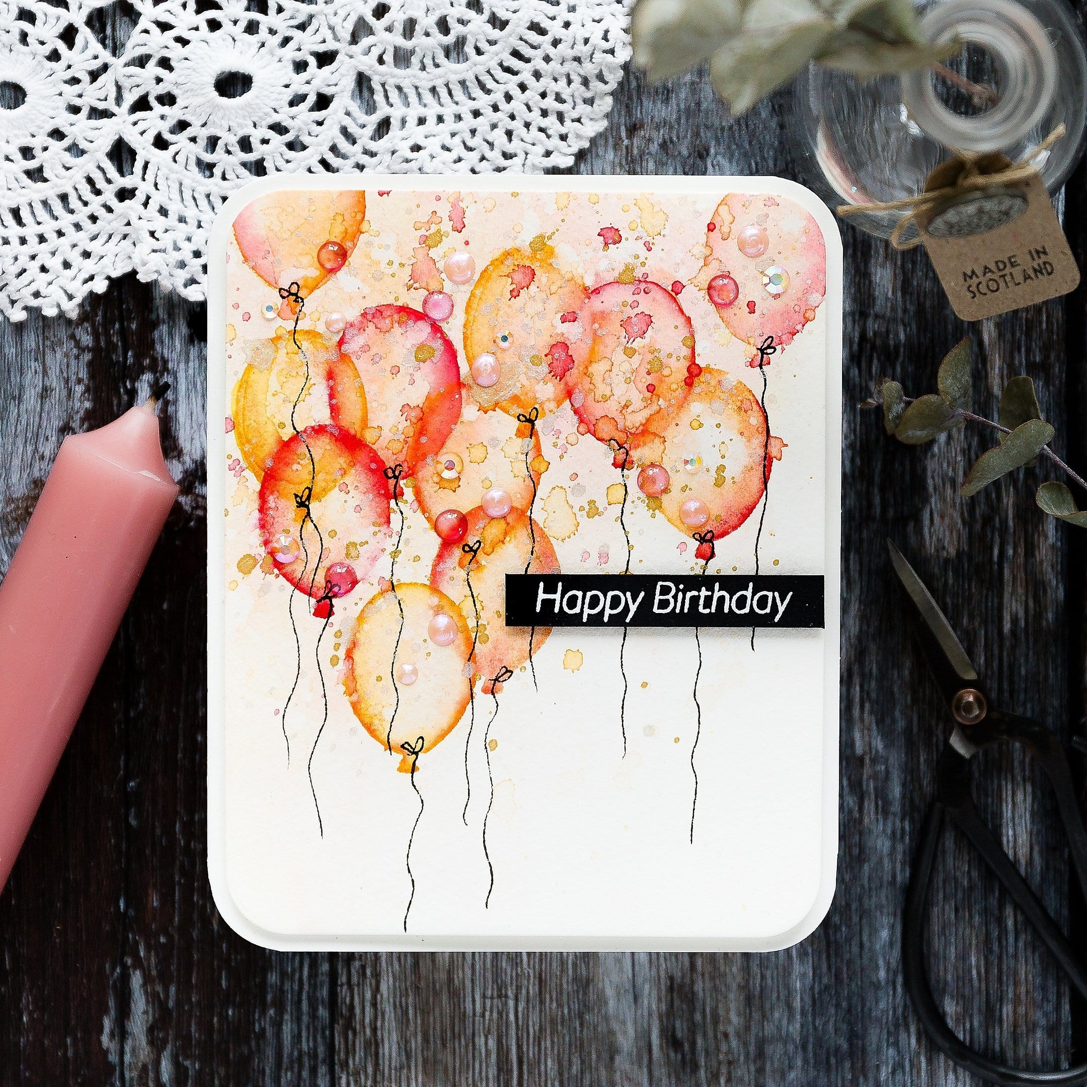 Faux watercolour tutorial for a handmade card by Debby Hughes using supplies from Simon Says Stamp #watercolor #homemade