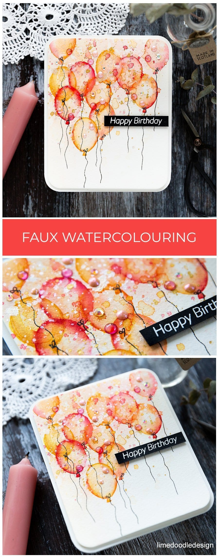 Faux watercoloured birthday balloons handmade card by Debby Hughes using supplies from Simon Says Stamp. Find out more here: https://limedoodledesign.com/2019/05/faux-watercoloured-birthday-balloons-blog-hop/