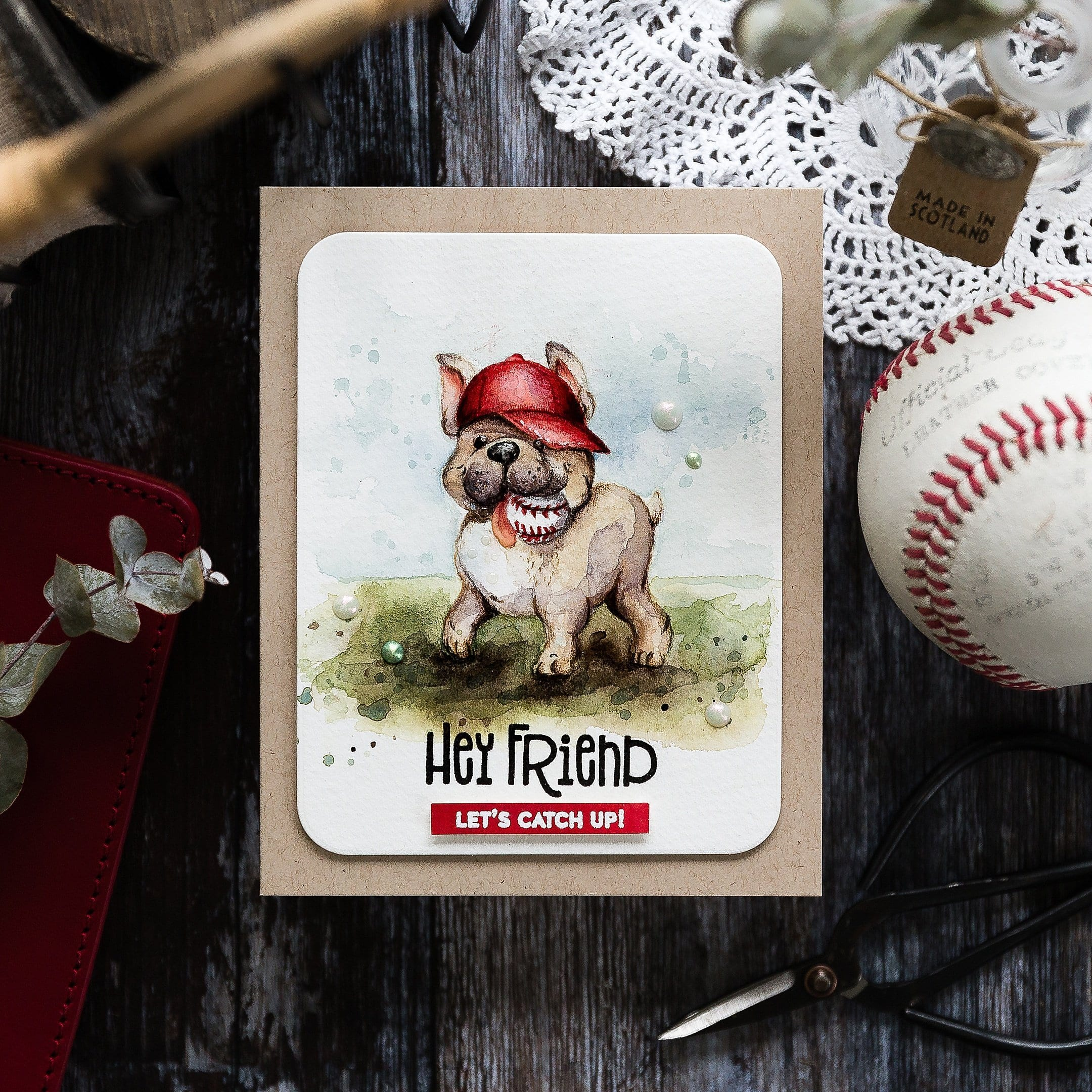 Watercoloured Frenchie, French Bulldog, dog handmade baseball card by Debby Hughes using supplies from Simon Says Stamp. Find out more here: https://limedoodledesign.com/2019/05/watercoloured-frenchie-sss-new-release/