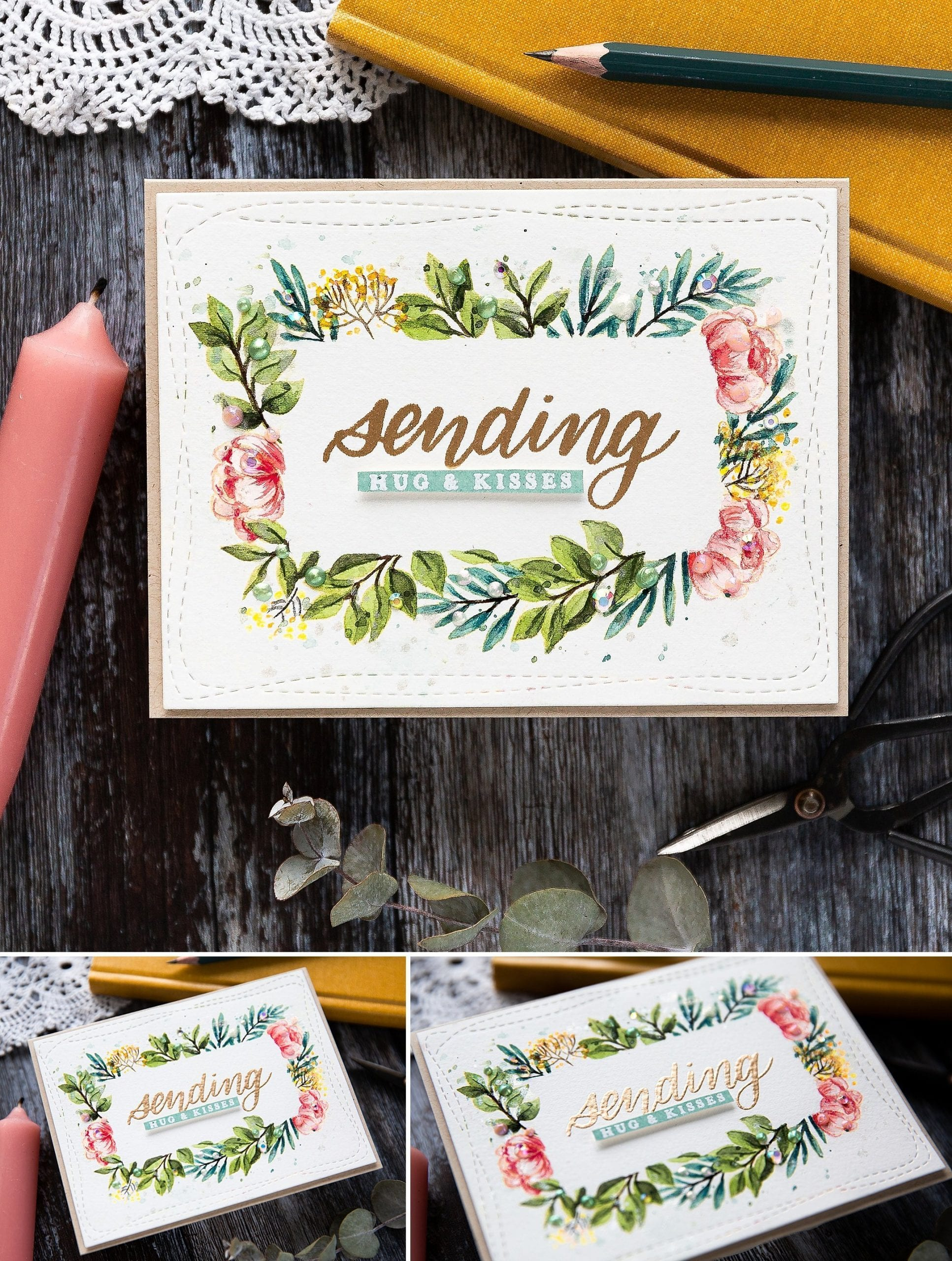 Watercoloured floral frame handmade card by Debby Hughes using the June Card Kit from Simon Says Stamp. Find out more here: https://limedoodledesign.com/2019/05/watercoloured-floral-border-sss-june-card-kit/