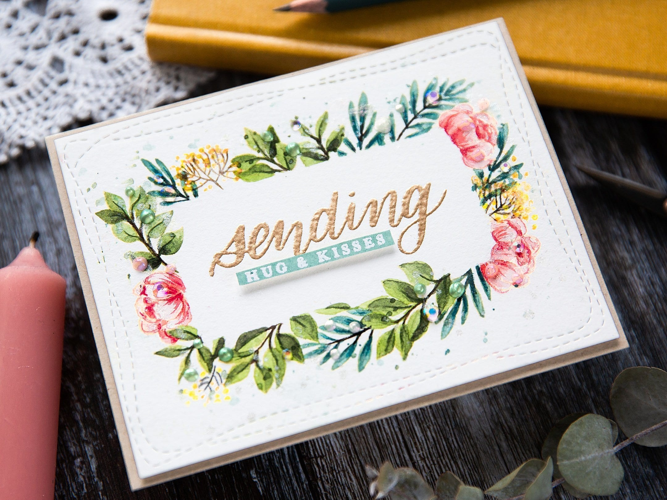 Watercoloured Floral Border + SSS June Card Kit
