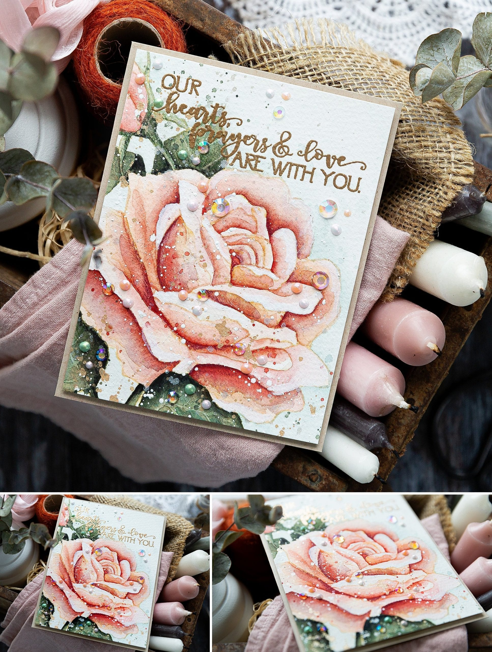 How to mix a muted watercolour palette plus no line watercolouring this beautiful rose from Colorado Craft Company. Handmade sympathy card by Debby Hughes. Find out more here: https://limedoodledesign.com/2019/06/video-how-to-mix-a-muted-watercolour-palette-giveaway/