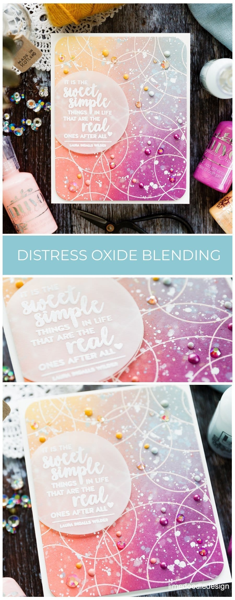 Tips on blending Tim Holtz Distress Oxides over a heat embossed background. Handmade card by Debby Hughes using supplies from Simon Says Stamp. Find out more here: https://limedoodledesign.com/2019/06/video-distress-oxide-ink-blending/