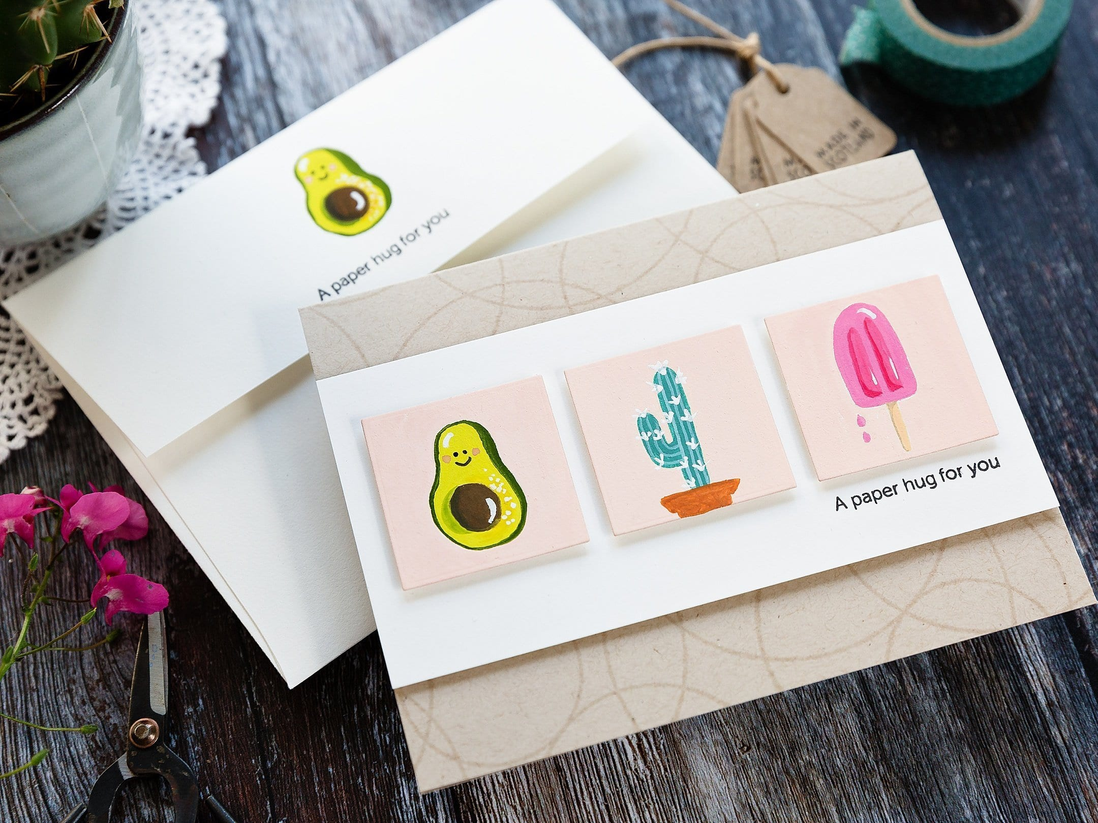 Playing with gouache and cute images from Simon Says Stamp Summa Time. Handmade card by Debby Hughes. Find out more here: https://limedoodledesign.com/2019/06/playing-with-gouache/ avocado, cactus, ice lolly