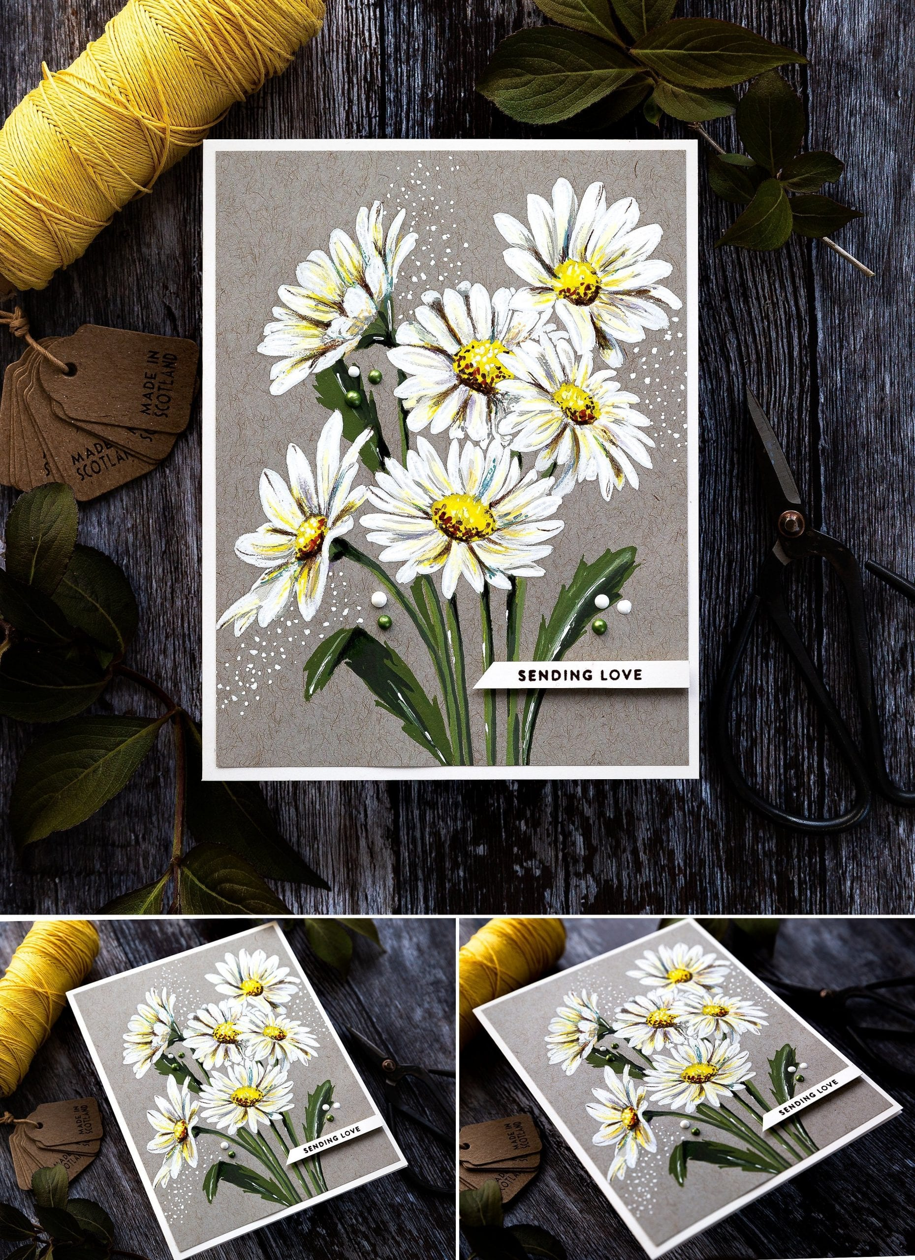 Gouache on kraft daisy bouquet, handmade sending love card by Debby Hughes using supplies from Simon Says Stamp. Find out more here: https://limedoodledesign.com/2019/06/gouache-on-kraft-daisies/