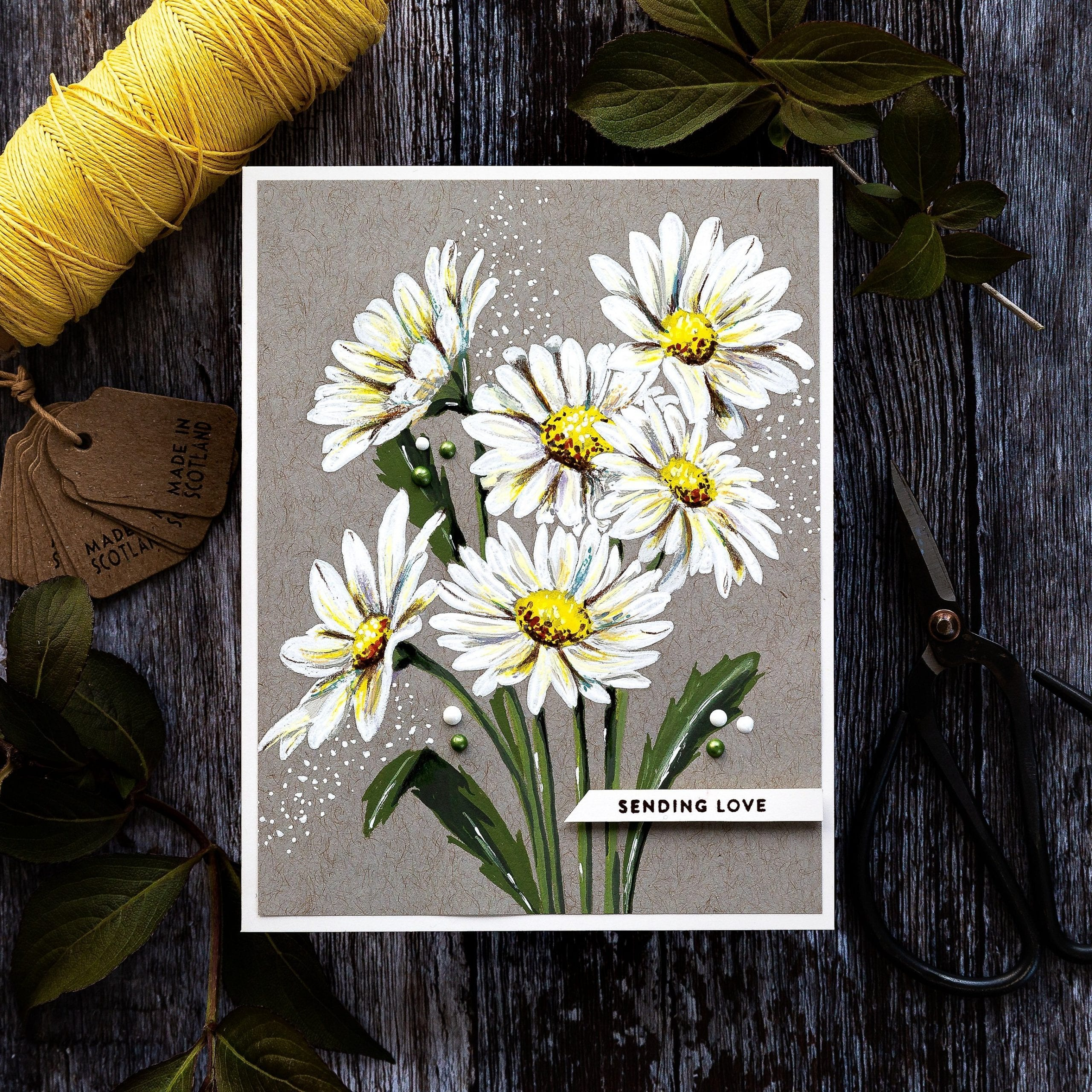 Gouache daisies handmade card tutorial by Debby Hughes using supplies form Simon Says Stamp #gouache #homemade