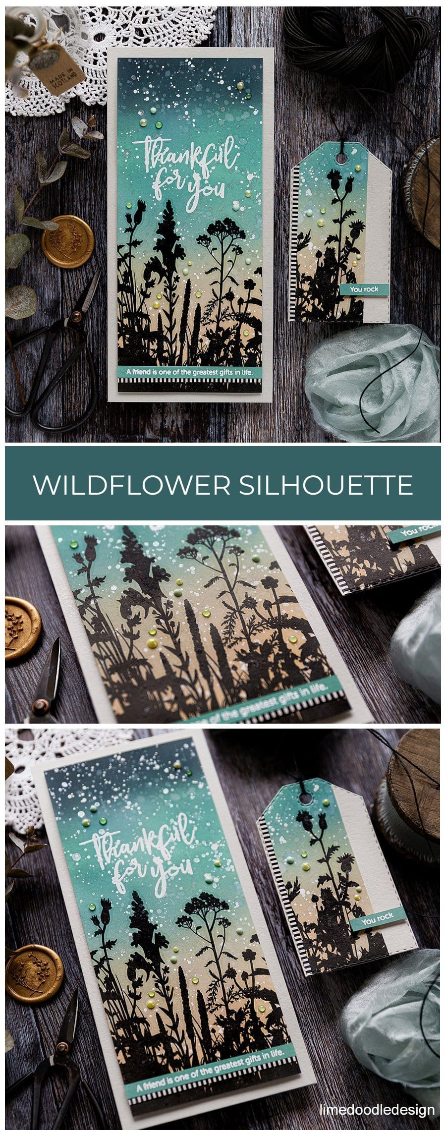 Wildflowers silhouette over Distress Oxide ink blended background. Handmade friendship card by Debby Hughes using supplies from Simon Says Stamp. Find out more here: https://limedoodledesign.com/2019/06/wildflower-silhouette-blog-hop/