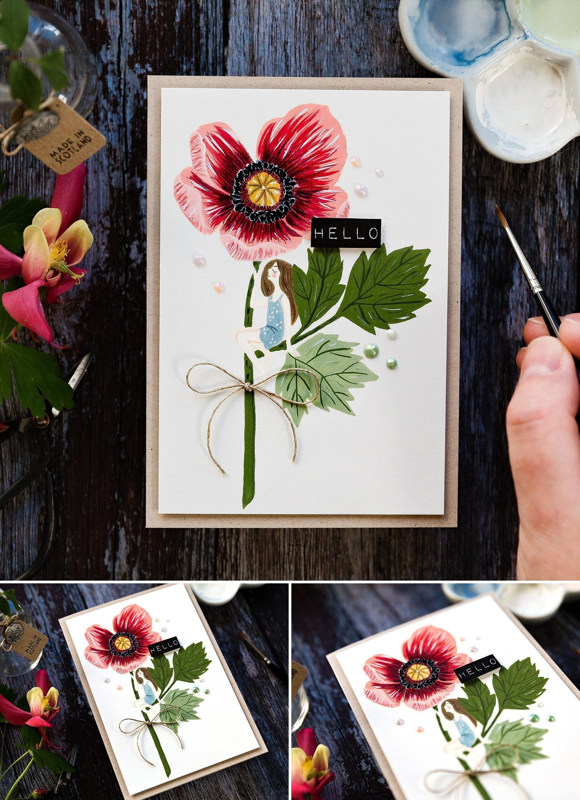 Playing with gouache, handmade poppy card by Debby Hughes using supplies from Waffle Flower in collaboration with Oana Befort. Find out more here: https://limedoodledesign.com/2019/06/playing-with-gouache-waffle-flower-release/