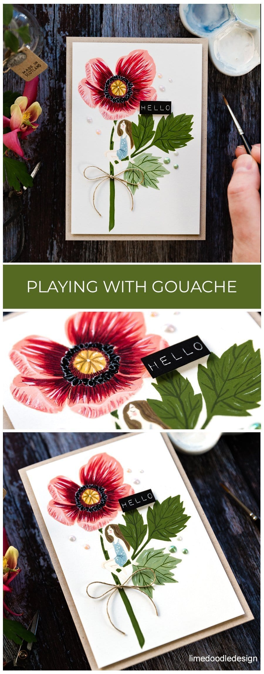 Miving gouache with watercolour handmade poppy card by Debby Hughes using supplies from Waffle Flower designed by Oana Befort. Find out more here: https://limedoodledesign.com/2019/06/playing-with-gouache-waffle-flower-release/
