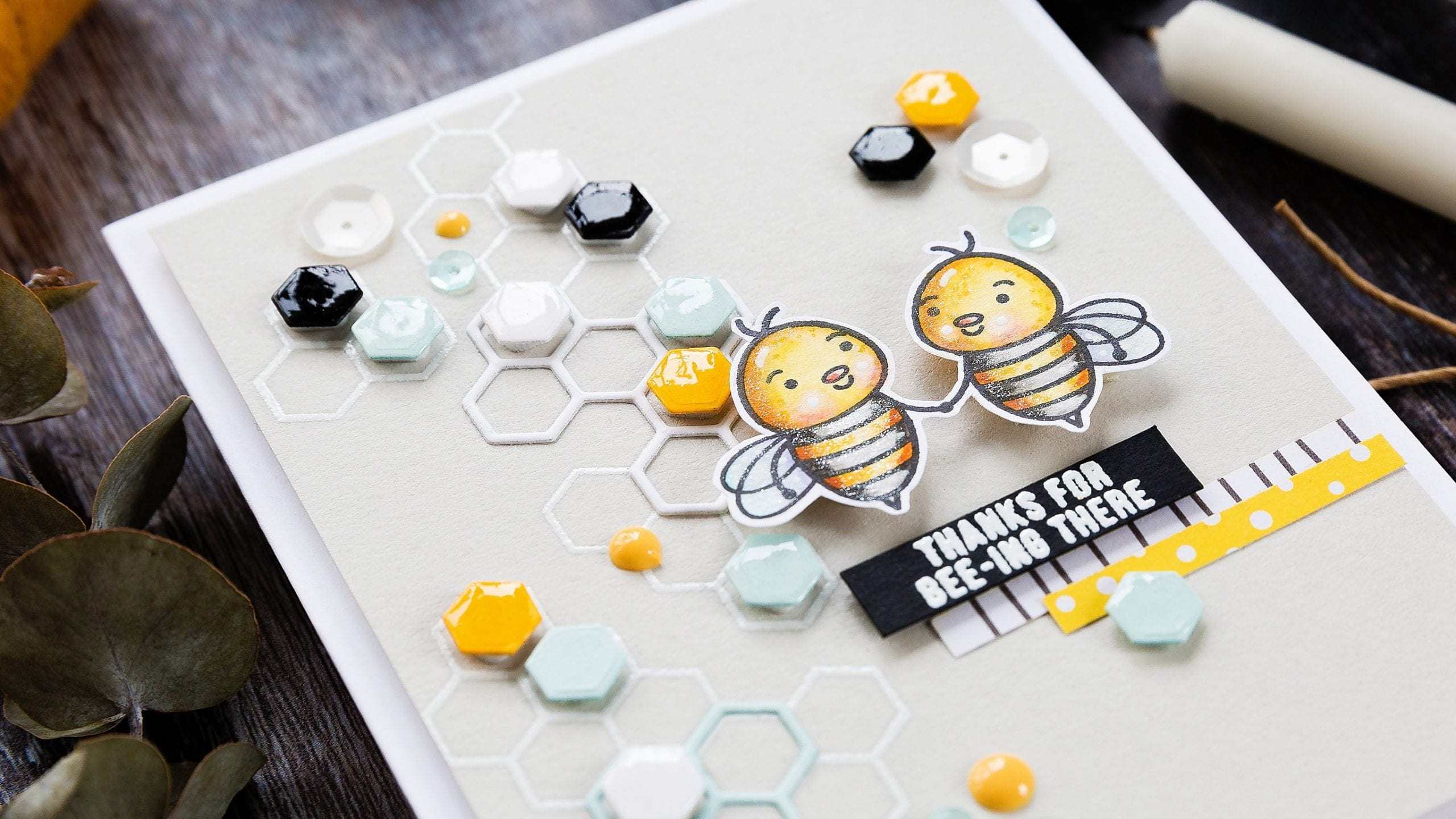 Playing with hexagons and bees. Handmade card by Debby Hughes using the July Card Kit from Simon Says Stamp. Find out more here: https://limedoodledesign.com/2019/07/take-two-playing-with-hexagons/