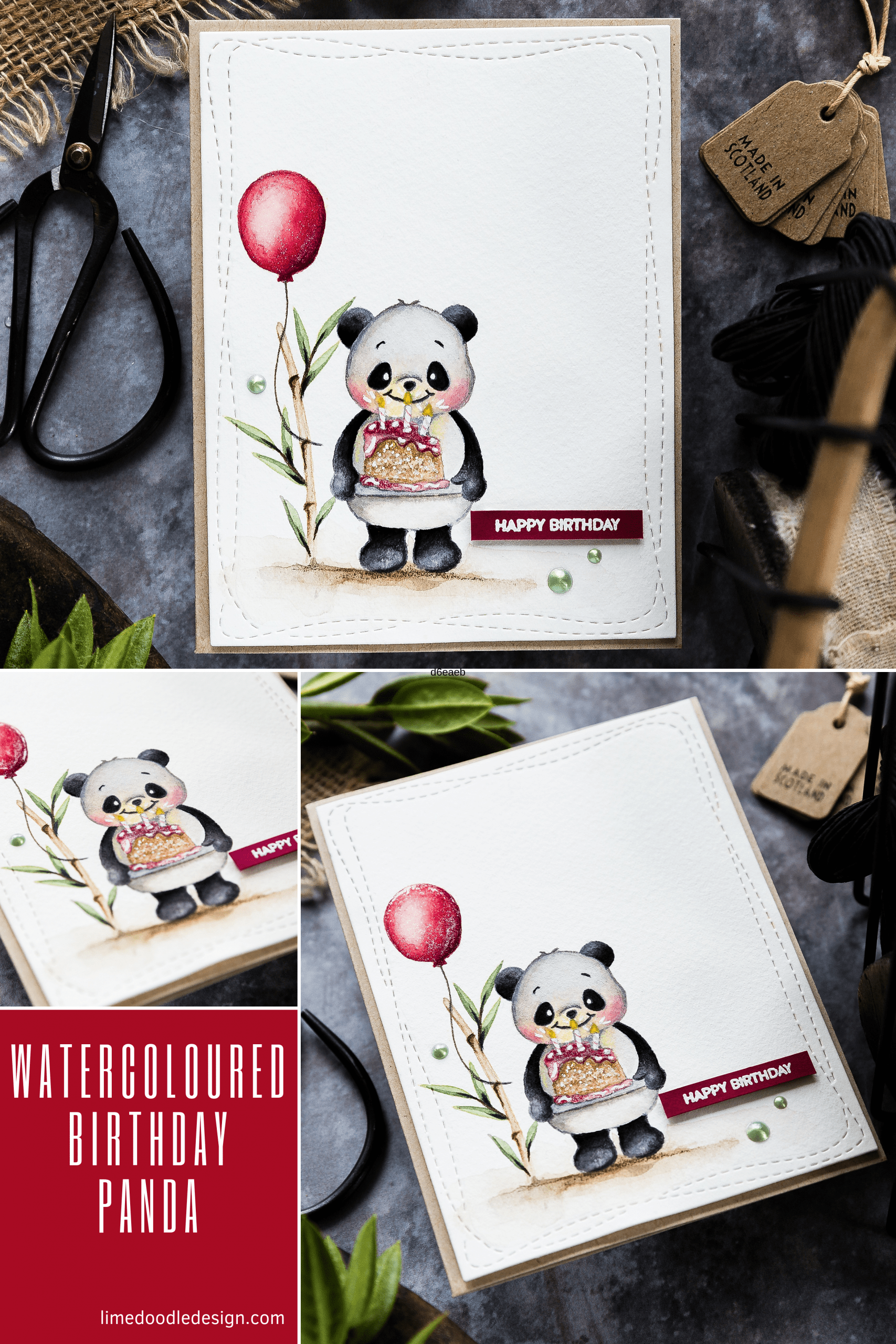 Watercoloured panda with cake handmade birthday card by Debby Hughes using supplies from Simon Says Stamp. Find out more here: https://limedoodledesign.com/2019/07/watercoloured-birthday-panda/