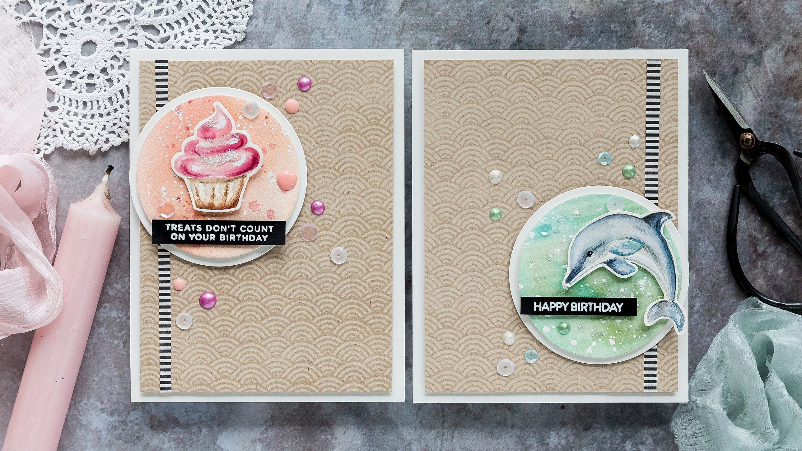 One design two ways, watercoloured, handmade birthday cards by Debby Hughes using supplies from Simon Says Stamp. Find out more here: https://limedoodledesign.com/2019/07/one-design-two-ways-blog-hop-giveaway/
