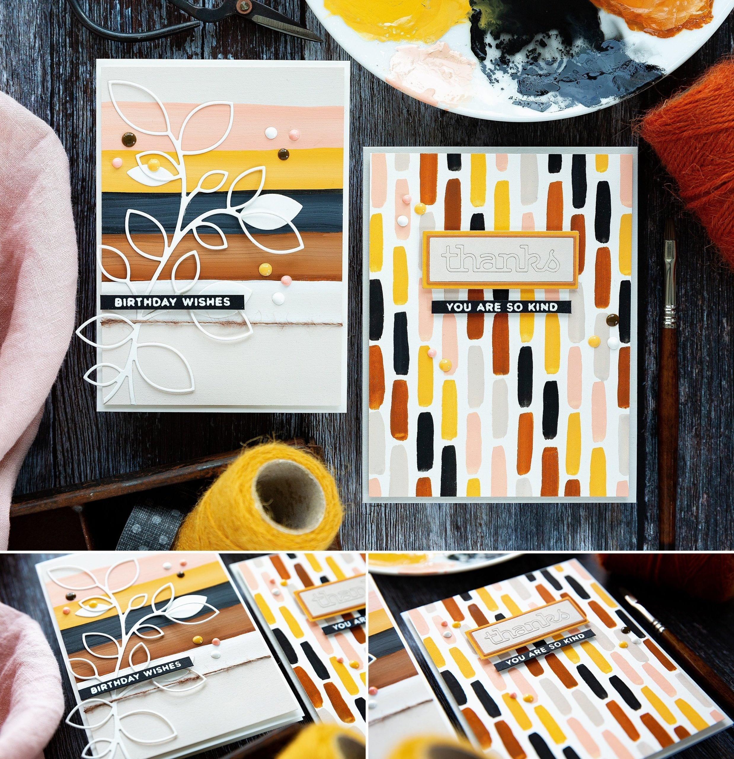 Fun gouache painted striped backgrounds. Handmade cards by Debby Hughes using gouache from Winsor & Newton and American Crafts/Paper Fashion with supplies from Simon Says Stamp. Find out more here: https://limedoodledesign.com/2019/07/video-simple-paint-striped-backgrounds/