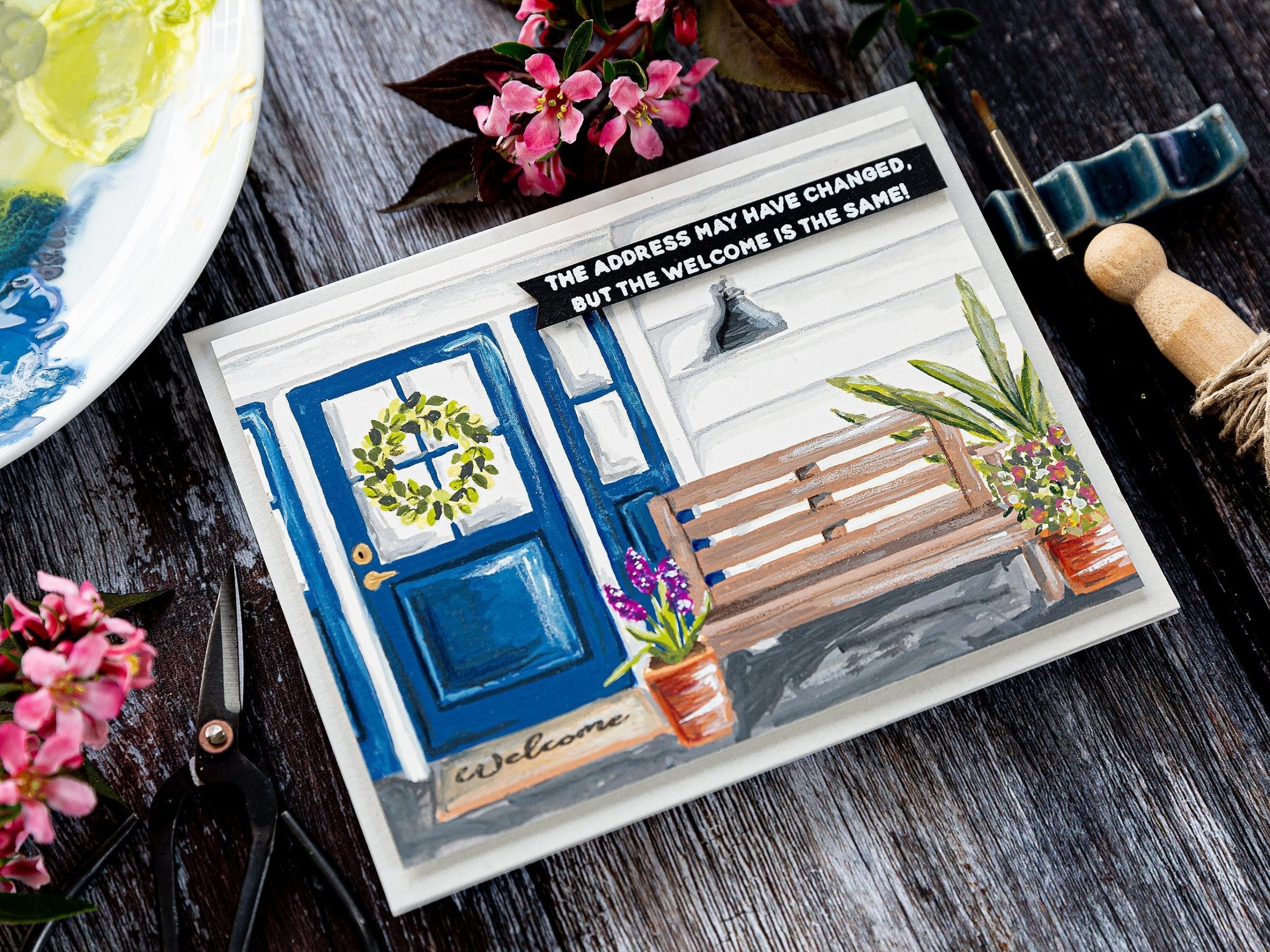 Scene building with gouache plus review of gouache in general. Handmade new home card by Debby Hughes using supplies from Wplus9. Find out more here: https://limedoodledesign.com/2019/07/video-scene-building-gouache-review/