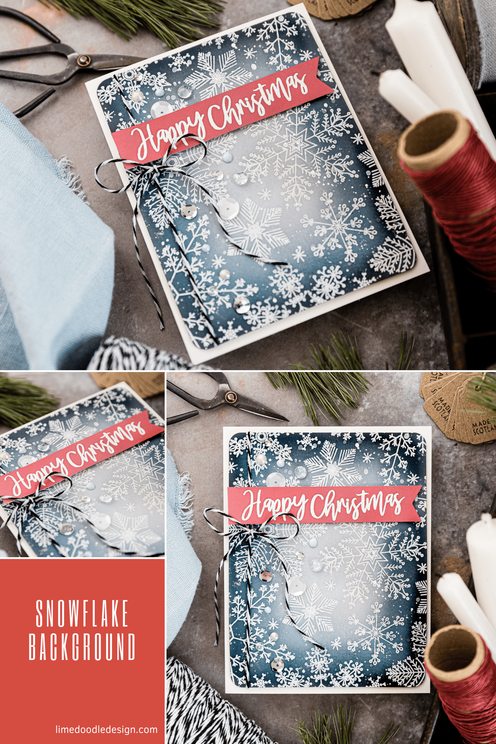 Simple snowflake background Christmas handmade card by Debby Hughes using supplies from Hero Arts. Find out more here:https://limedoodledesign.com/2019/08/simple-snowflake-background-hero-arts-winter-release-blog-hop/
