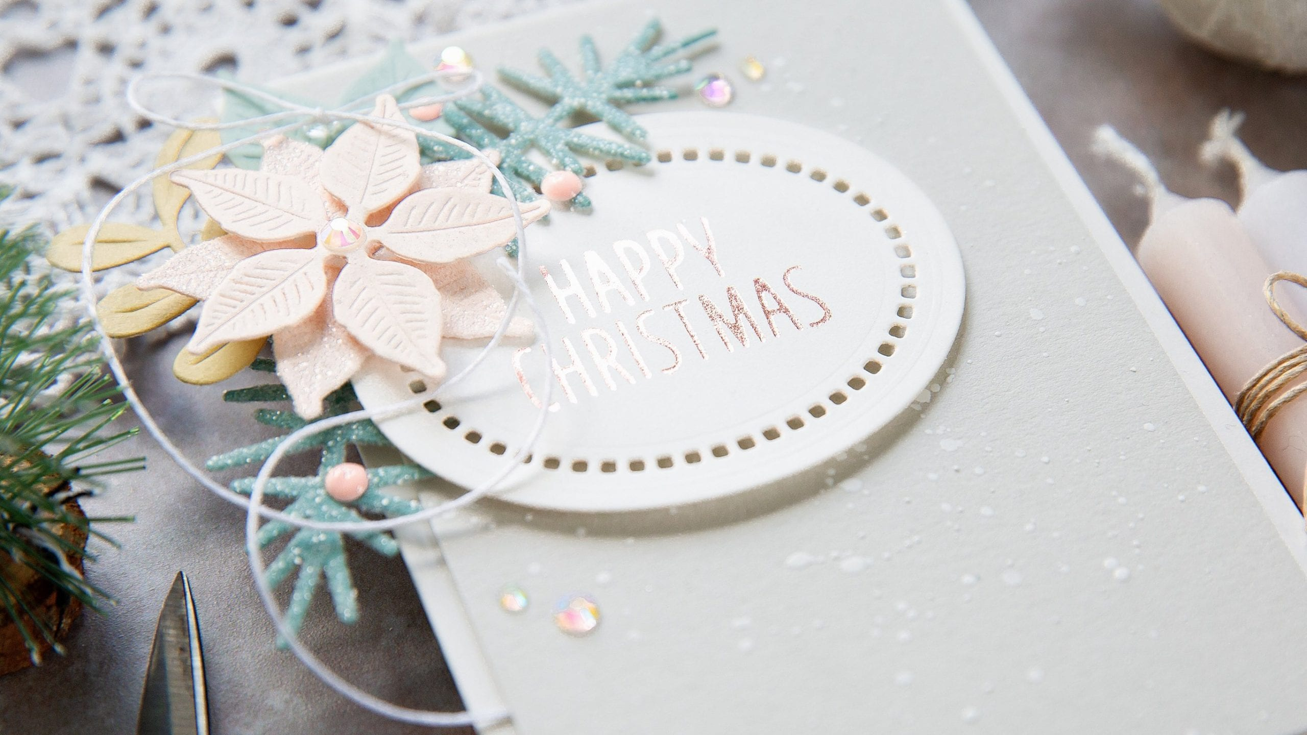 Handmade ornament Christmas cards with rose gold glimmer foil and painted die cuts by Debby Hughes using supplies from Simon Says Stamp. Find out more here: https://limedoodledesign.com/2019/08/painted-die-cuts-all-the-glimmer-blog-hop-giveaway/