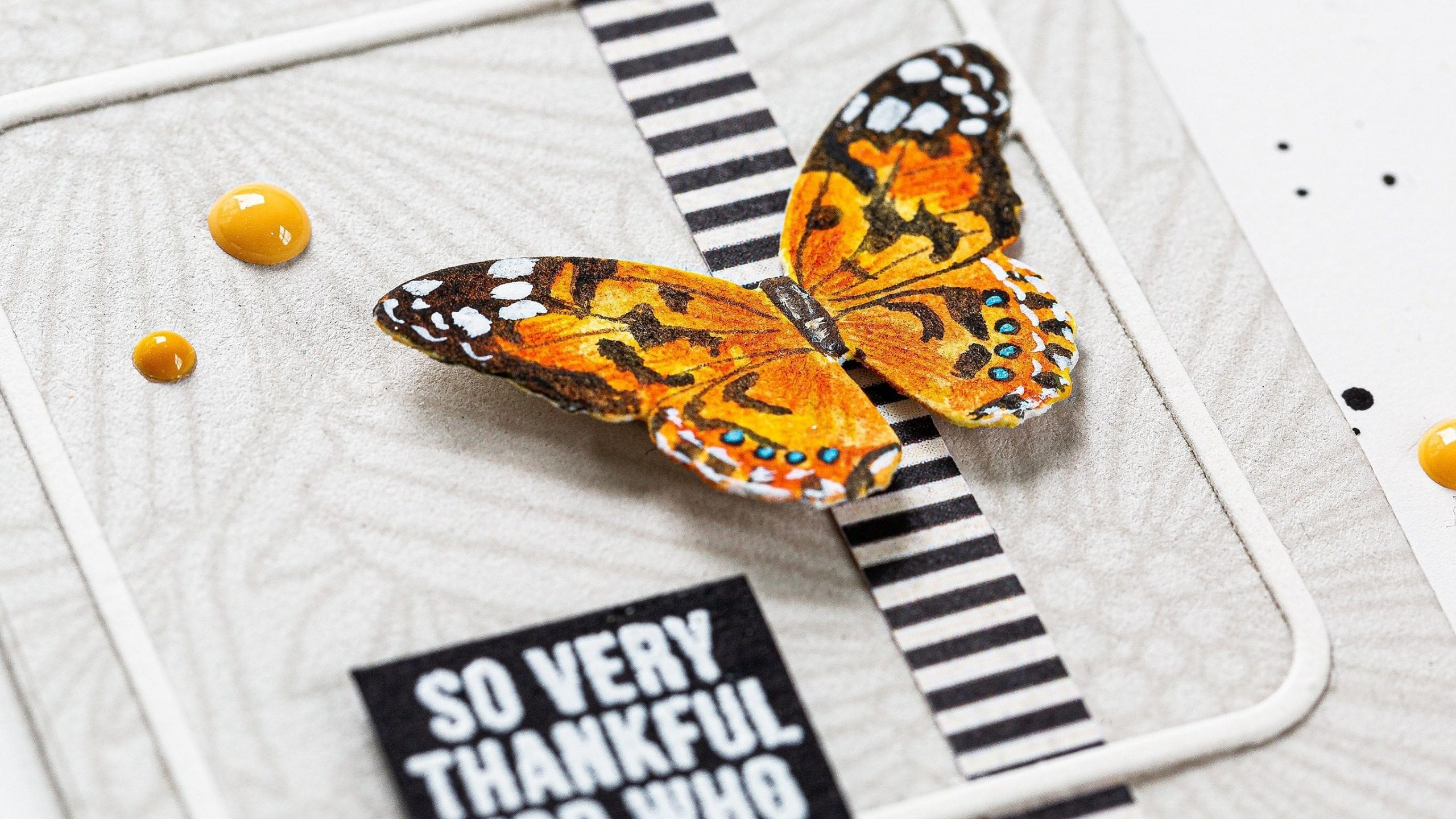 Watercoloured butterfly handmade thank you card by Debby Hughes using supplies from Simon Says Stamp. Find out more here: https://limedoodledesign.com/2019/08/watercoloured-butterfly-2/