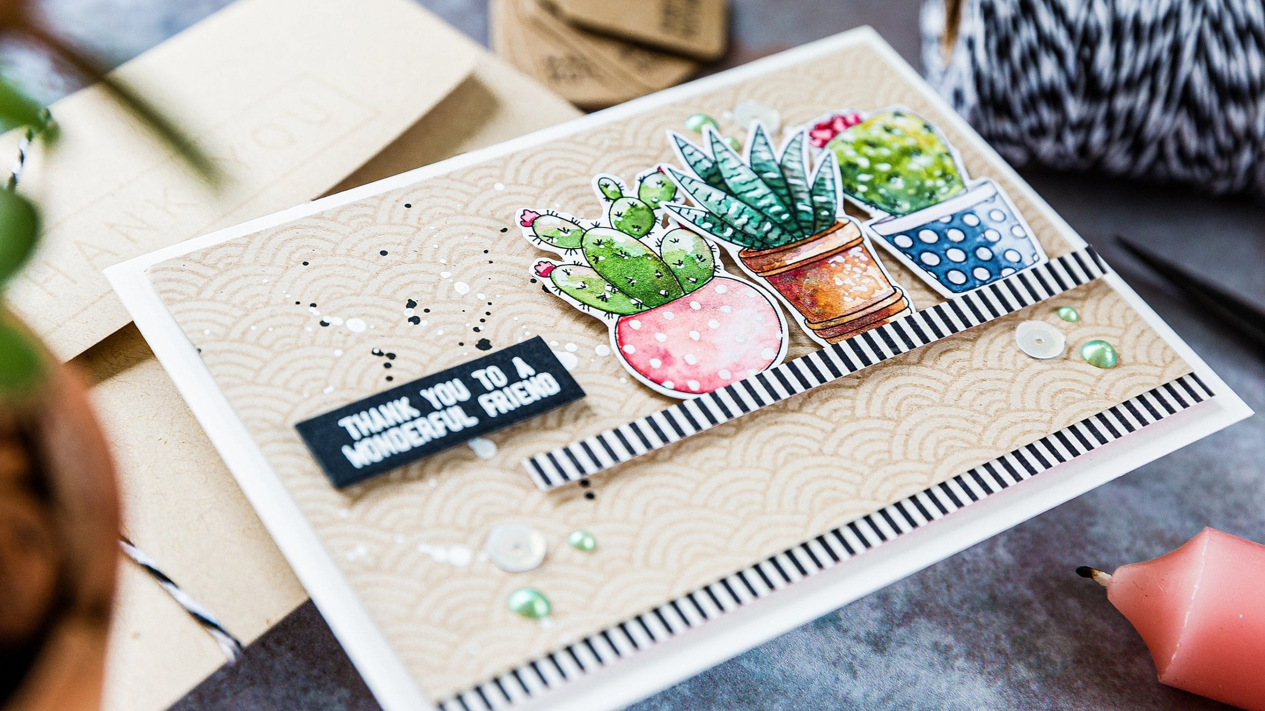 Video - making the most of watercolour prints. Handmade card and matching envelope by Debby Hughes using supplies from Simon Says Stamp. Find out more here: https://limedoodledesign.com/2019/08/video-making-the-most-of-watercolour-prints/