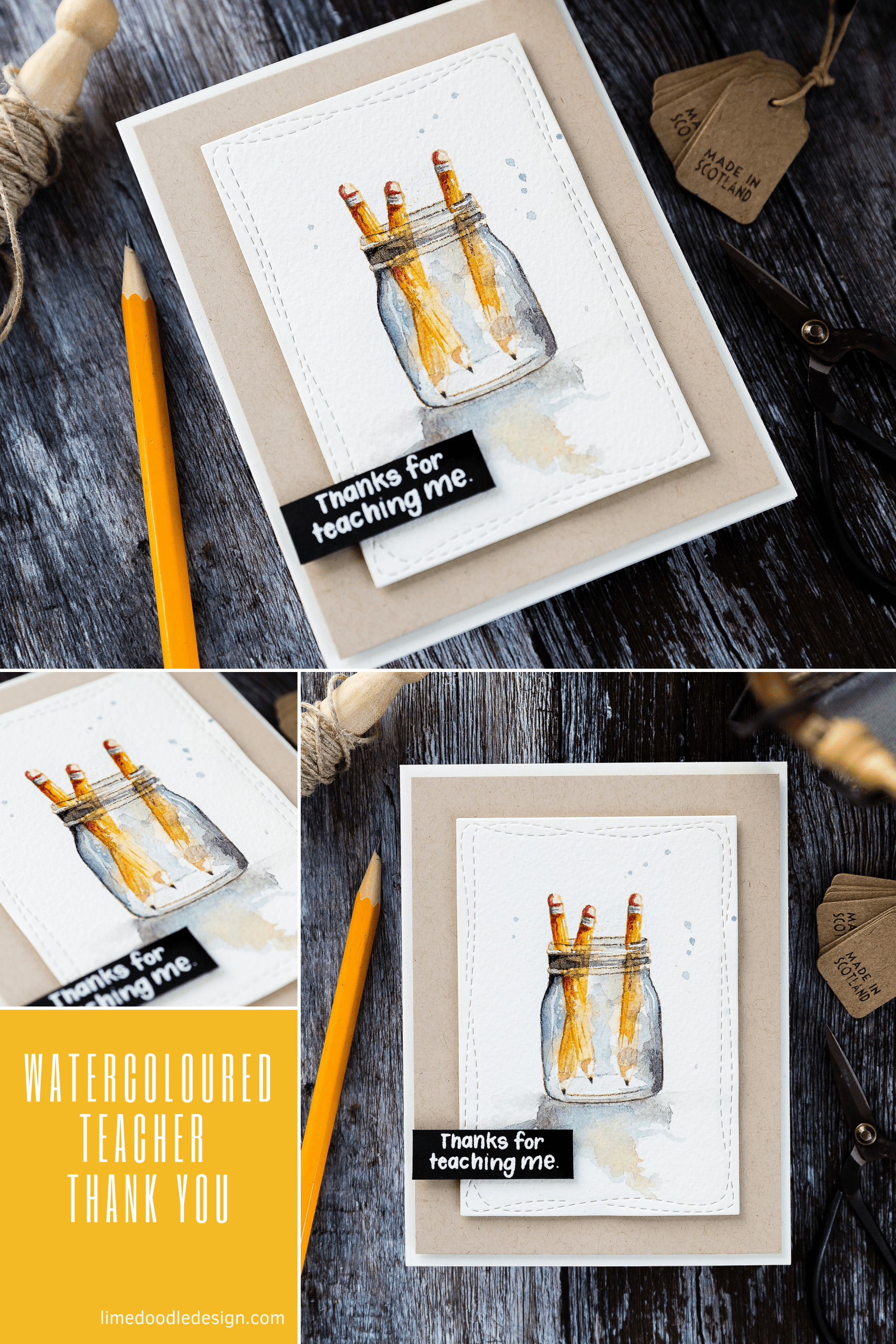 Often, the simplest cards are the ones that speak to me more - clean design and pop of colour are all I really want ✏️😃 Handmade, watercoloured teacher thank you card. Find out more here: https://limedoodledesign.com/2019/08/watercoloured-teacher-thank-you/