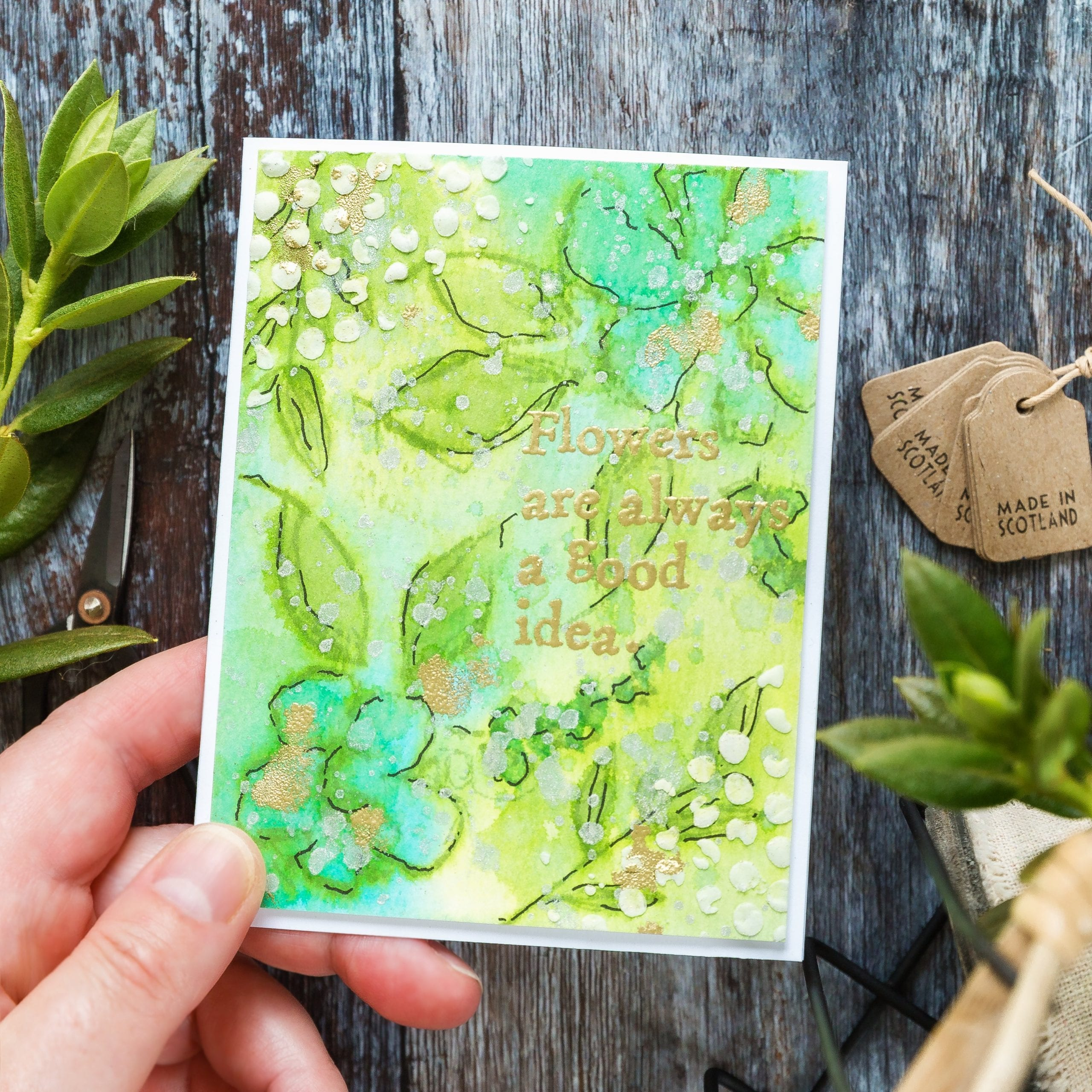 Layered texture over watercolour handmade card by Debby Hughes. Find out more here: https://limedoodledesign.com/2019/09/layered-texture-over-watercolour/