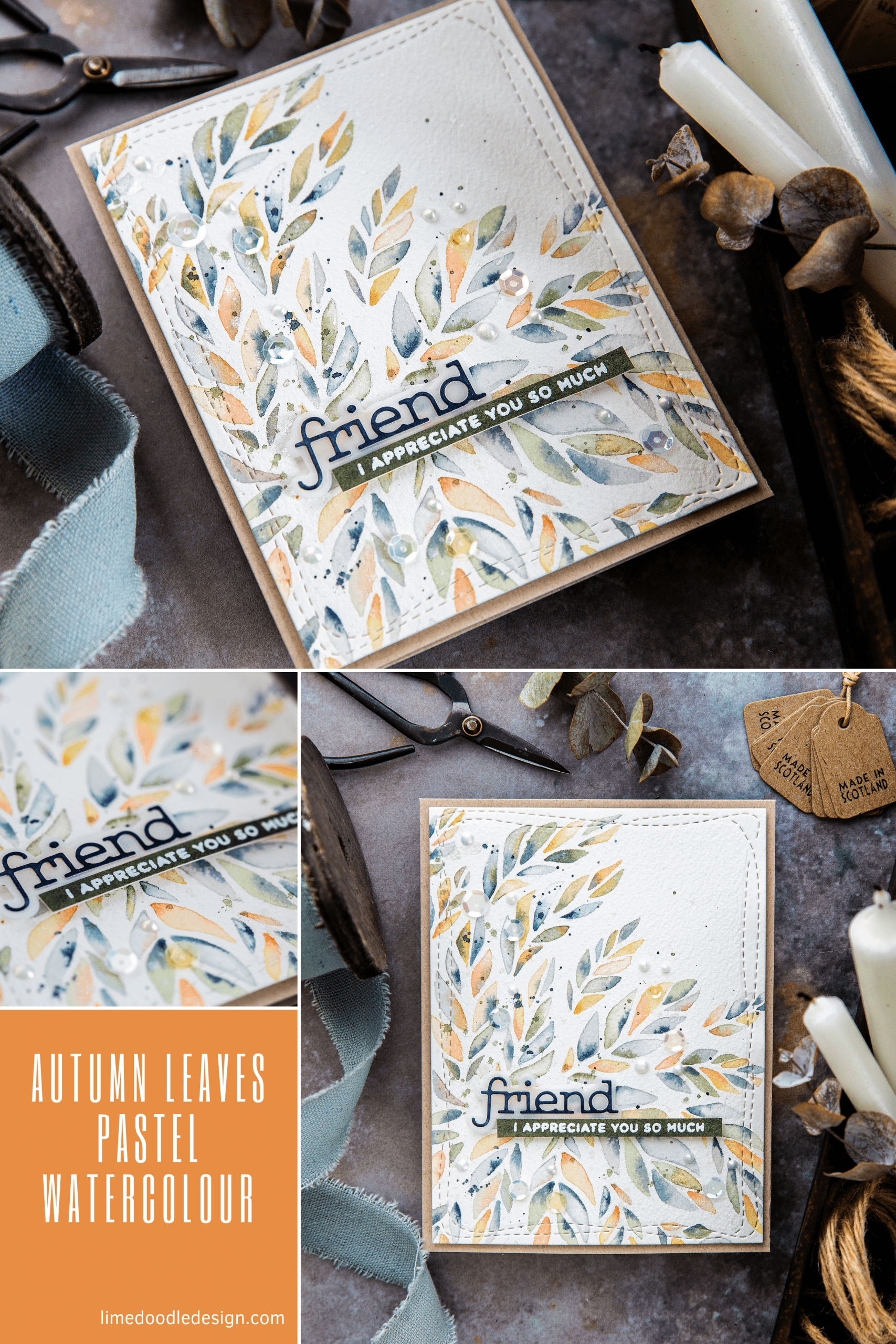 Autumn leaves pastel watercoloured friendship card by Debby Hughes using supplies from Simon Says Stamp. Find out more here: https://limedoodledesign.com/2019/09/autumn-pastels-simon-says-stamp-new-release/