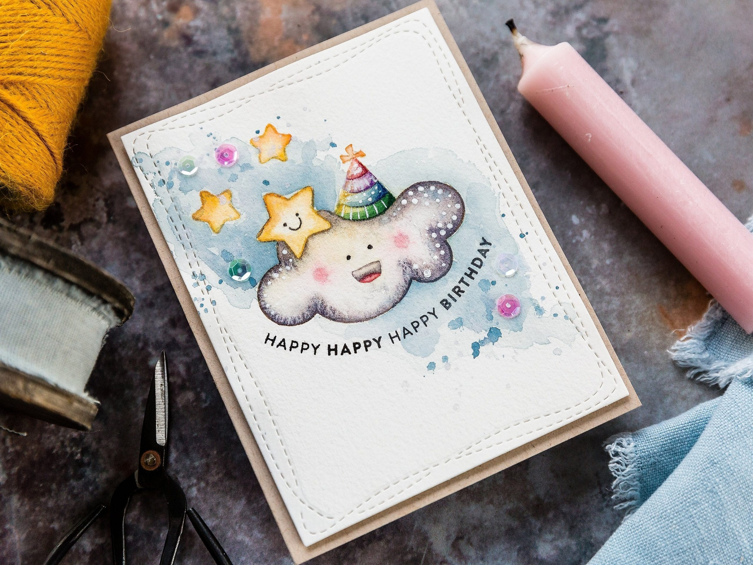 Watercoloured birthday card by Debby Hughes using the Limited Edition Birthday Card Kit from Simon Says Stamp. Find out more here: https://limedoodledesign.com/2019/09/limited-edition-stamptember-birthday-card-kit/
