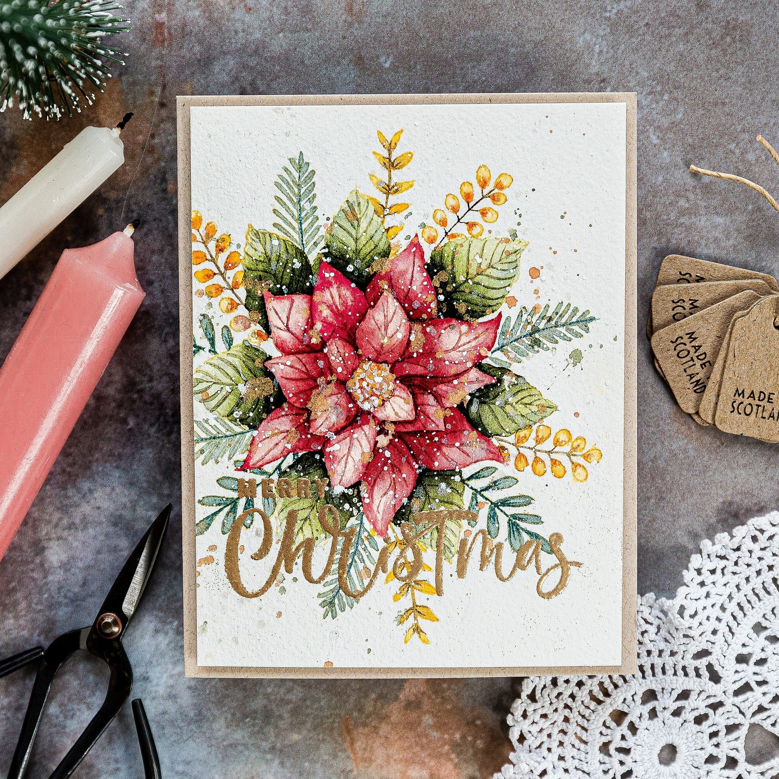 Gina K exclusive STAMPtember Festive Floral set. Handmade watercoloured Christmas card by Debby Hughes. Find out more here: https://limedoodledesign.com/2019/09/gina-k-stamptember/