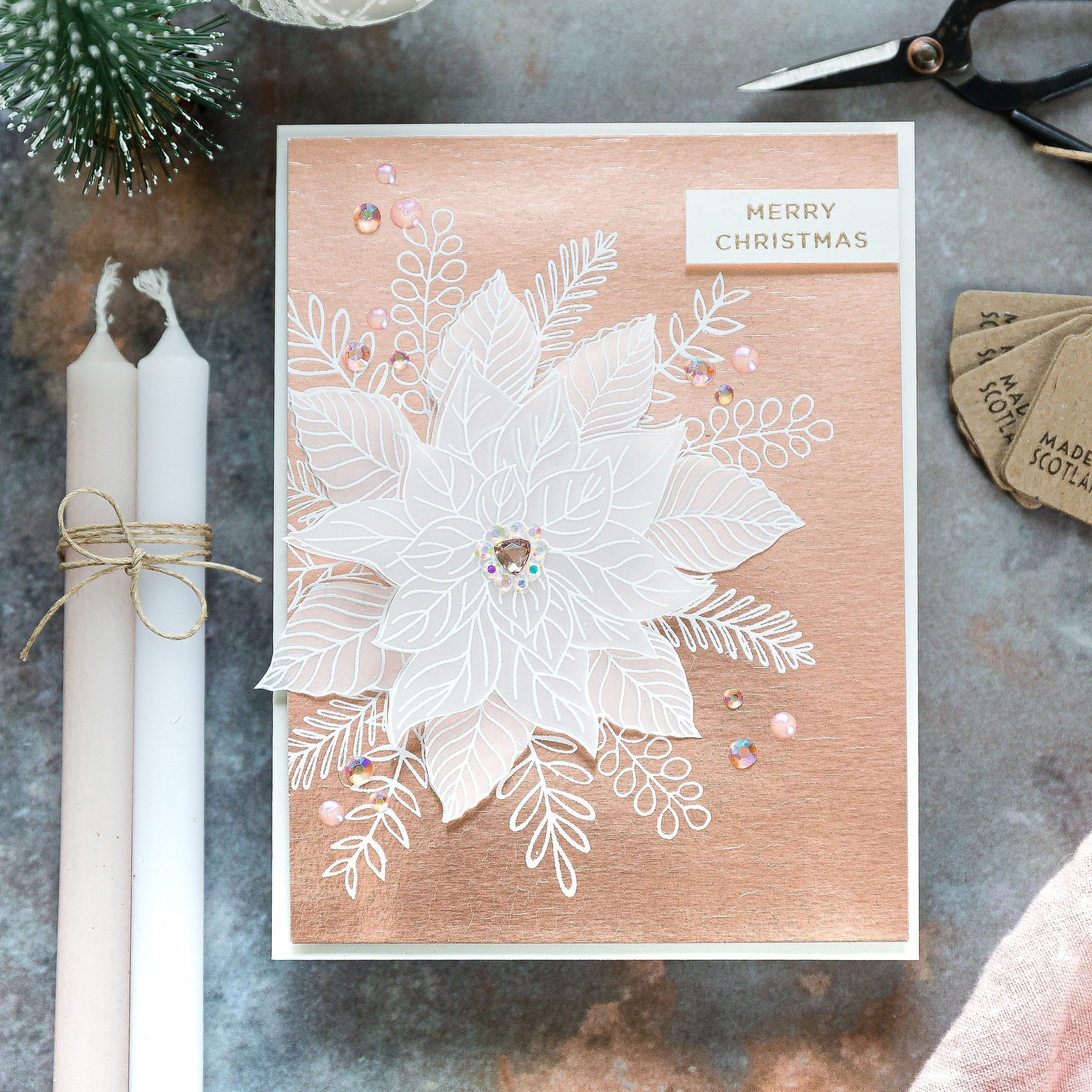 Gina K exclusive STAMPtember Festive Floral set. Handmade Christmas card by Debby Hughes. Find out more here: https://limedoodledesign.com/2019/09/gina-k-stamptember/