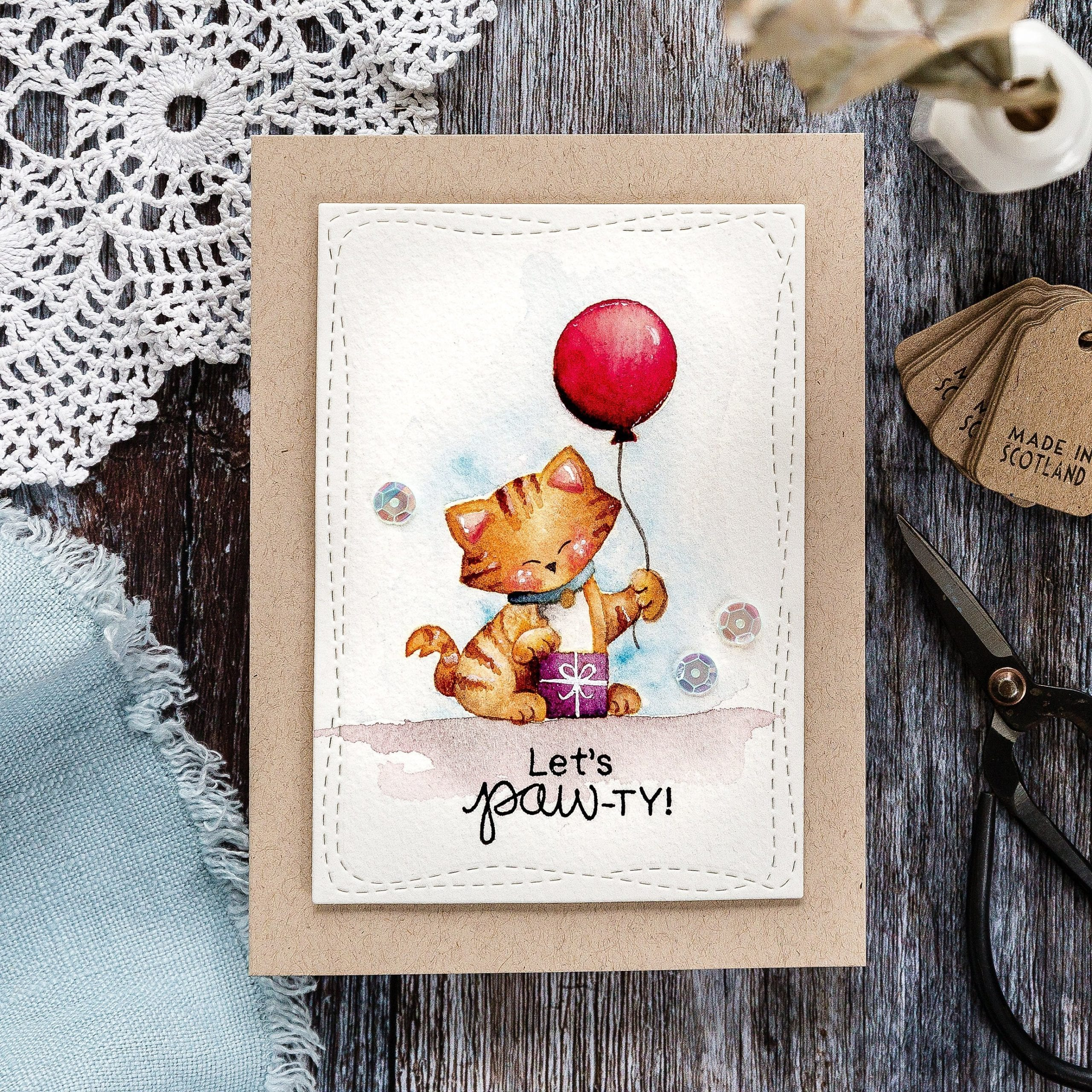 Newton's Nook STAMPtember exclusive stamp set. Handmade watercoloured kitty cat card by Debby Hughes. Find out more here: https://limedoodledesign.com/2019/09/newtons-nook-stamptember/