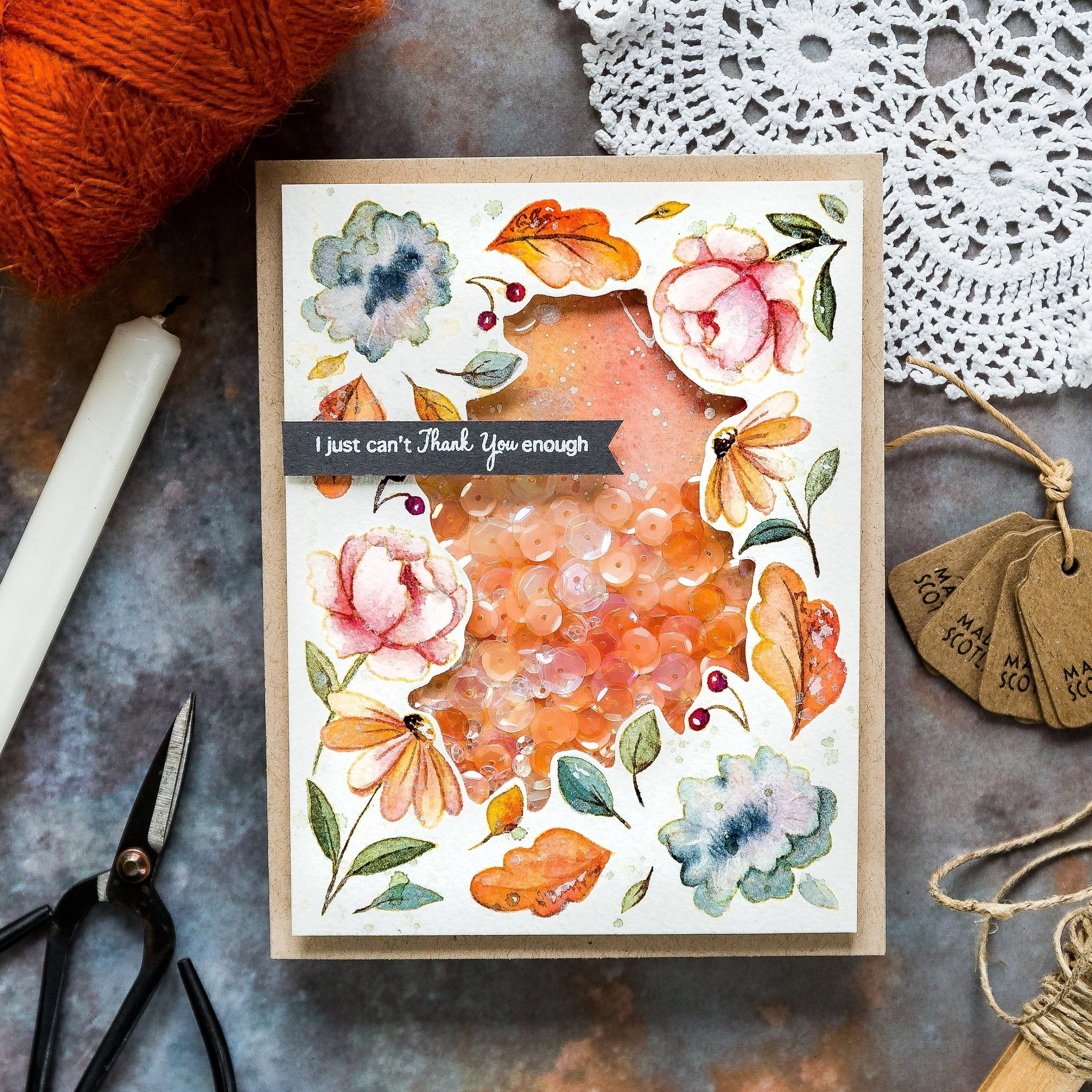 Watercoloured flower frame handmade card by Debby Hughes using the PinkFresh STAMPtember set. Find out more here: https://limedoodledesign.com/2019/09/pinkfresh-stamptember/