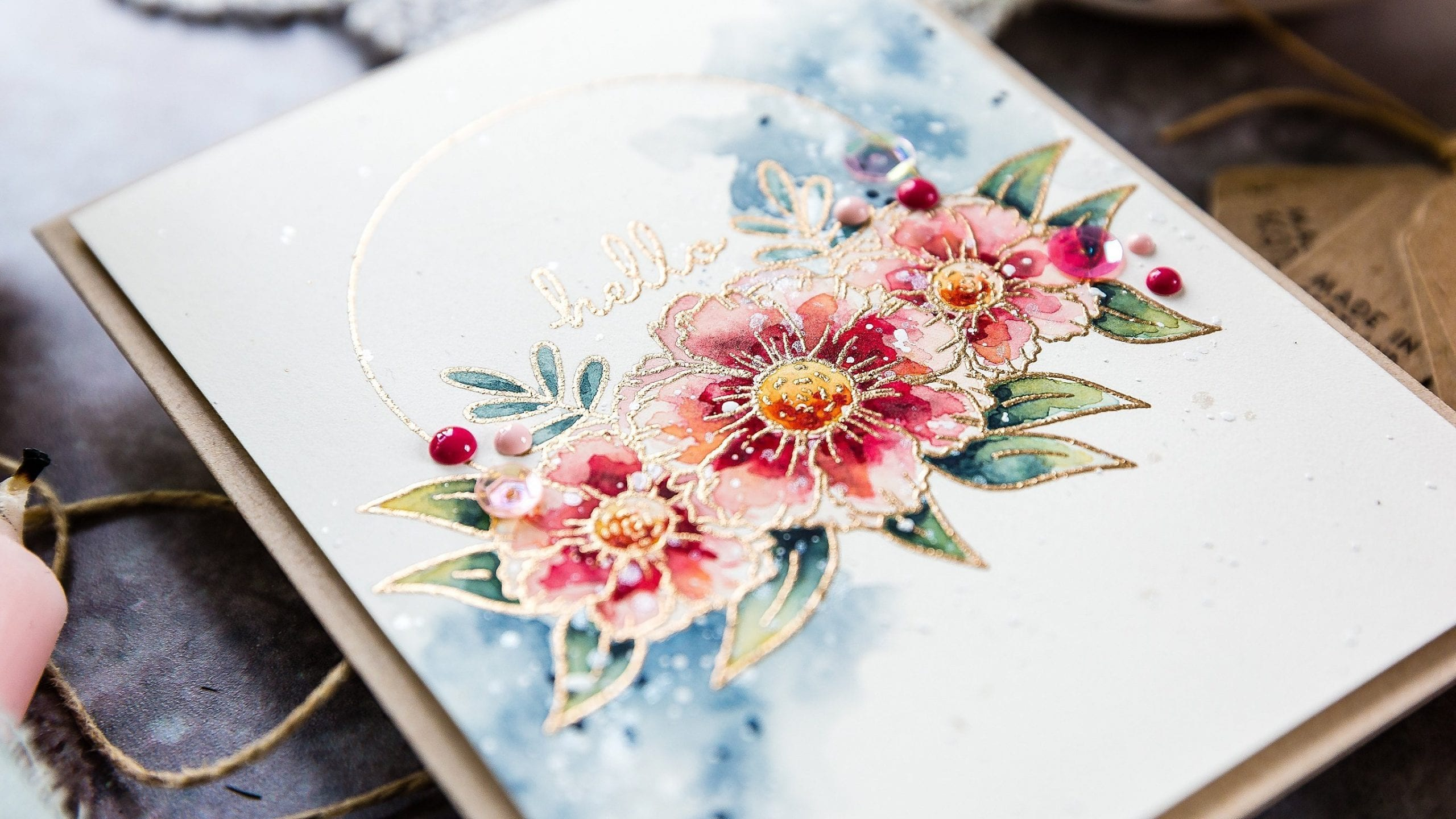 Watercoloured floral wreath, handmade card by Debby Hughes using supplies from Studio Katia. Find out more here: https://limedoodledesign.com/2019/09/video-studio-katia-stamptember/