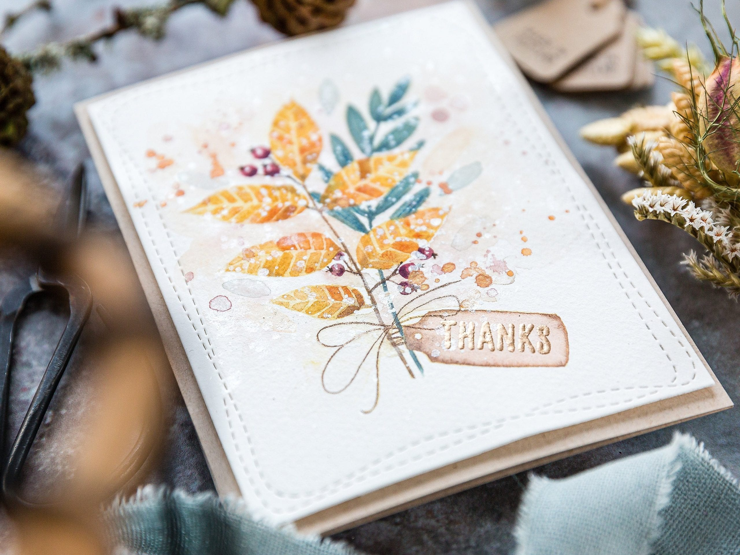 Watercoloured autumn leaves bouquet, handmade card by Debby Hughes using supplies from The Stamp Market. Find out more here:https://limedoodledesign.com/2019/09/the-stamp-market-stamptember/