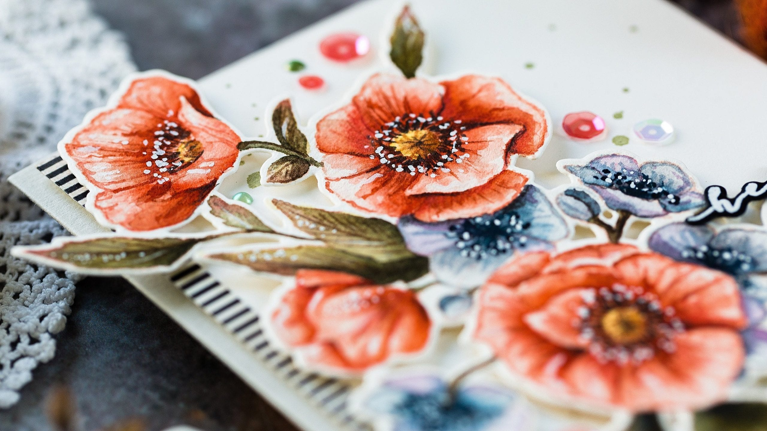 Watercoloured florals handmade hello card by Debby Hughes using supplies from Waffle Flower. Find out more here: https://limedoodledesign.com/2019/09/watercoloured-florals-blog-hop-giveaway/