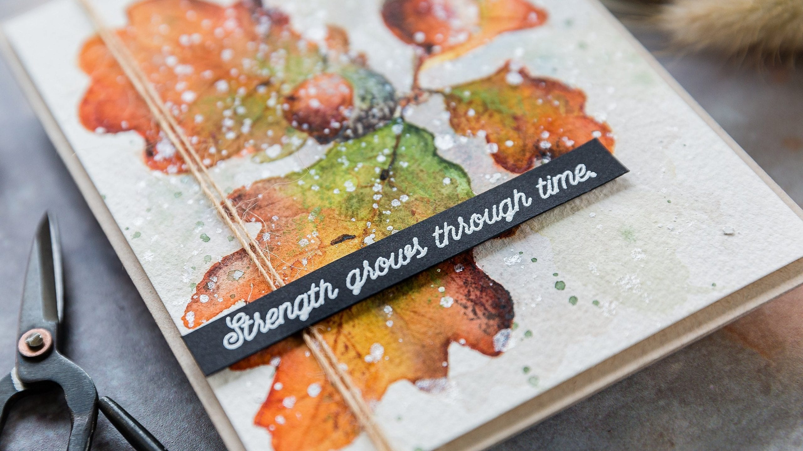 Autumn watercolour, oak leaves and acorns. Handmade card by Debby Hughes using supplies from Colorado Craft Company. Find out more here: https://limedoodledesign.com/2019/10/video-autumn-watercolour/